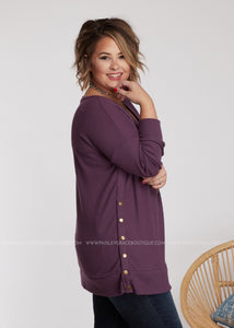 Brenna Snap Button Top - EGGPLANT