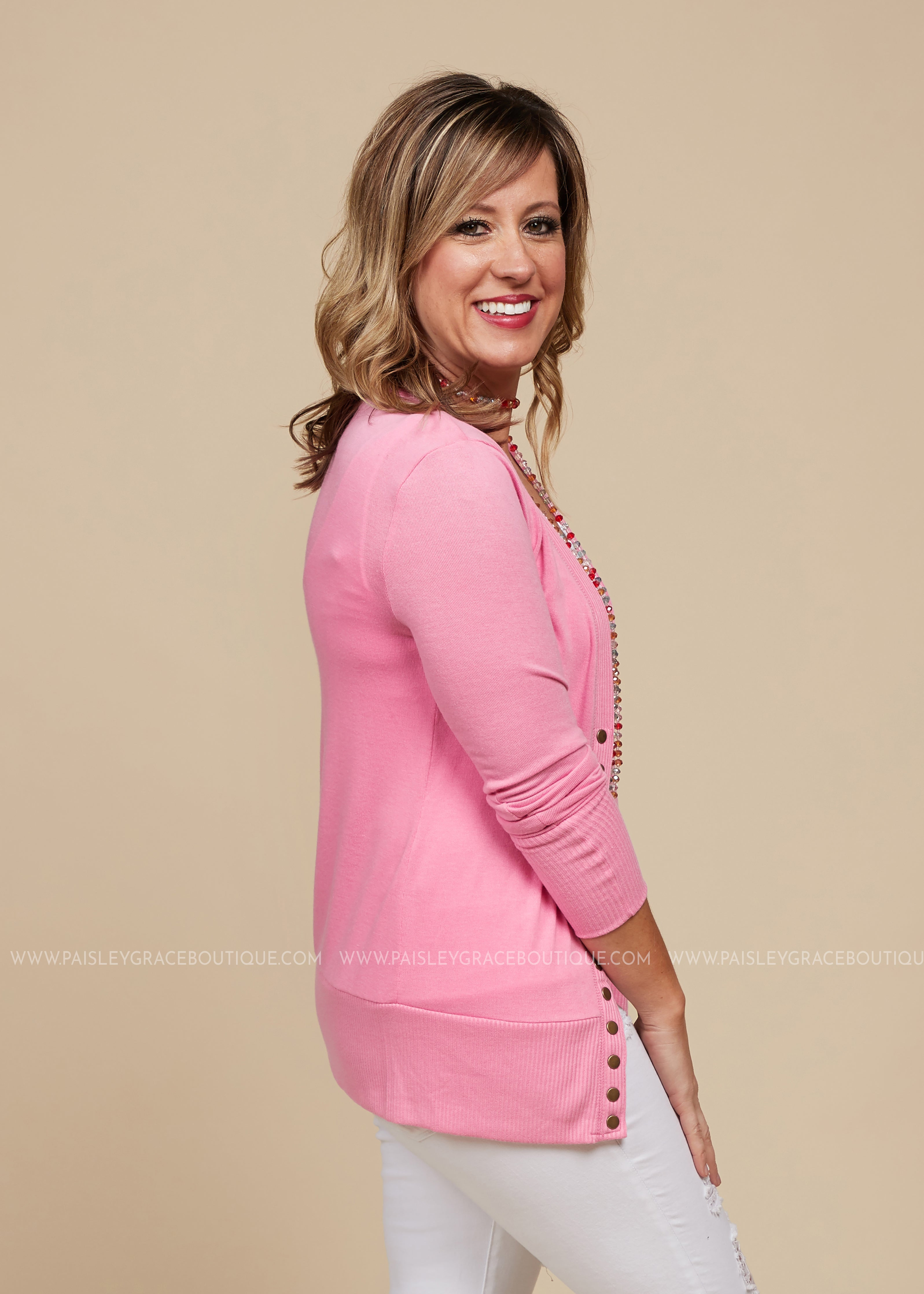 Emma Snap Button Cardigan- PINK - FINAL SALE