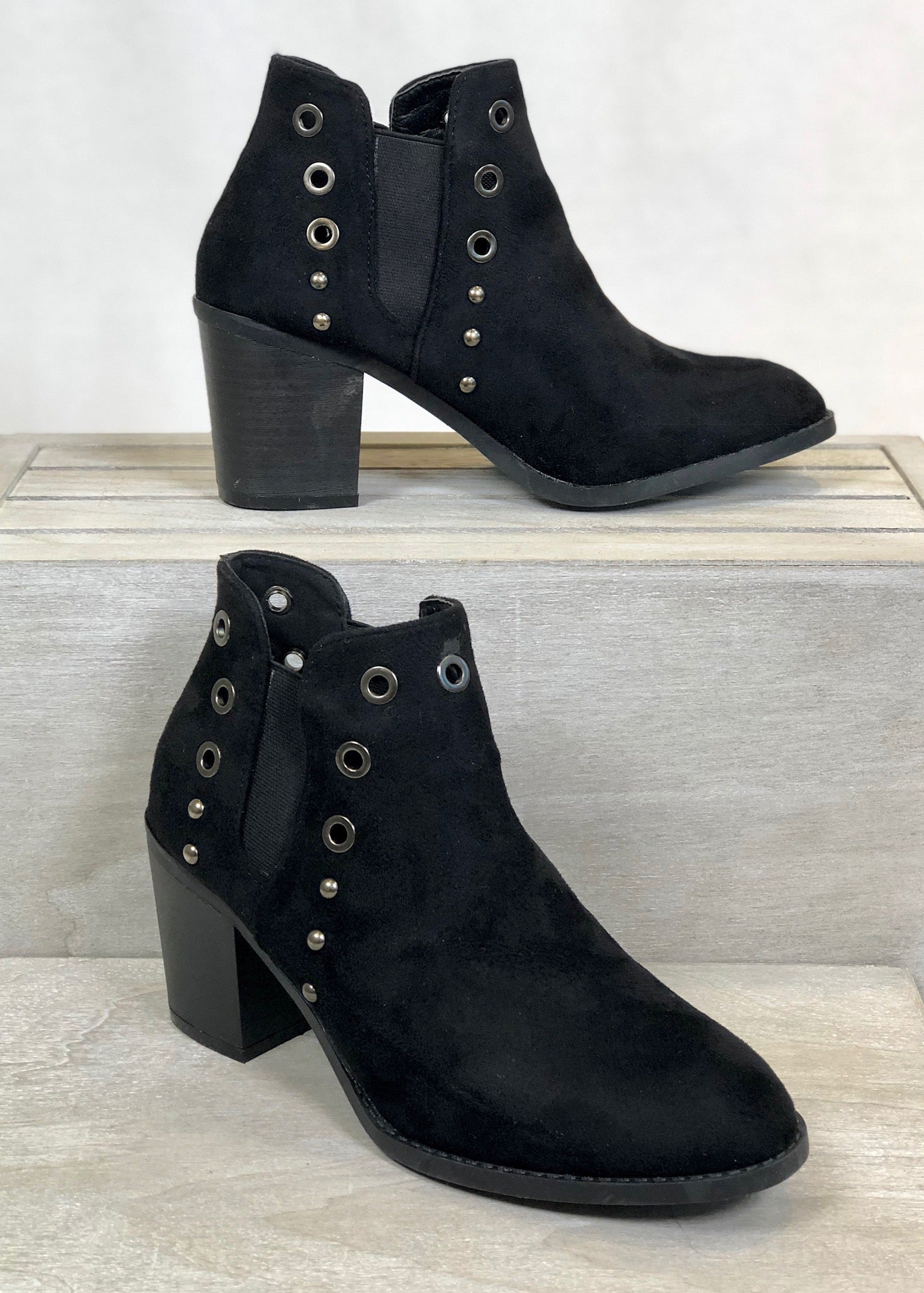 Sydney Grommet Booties - Black FINAL SALE