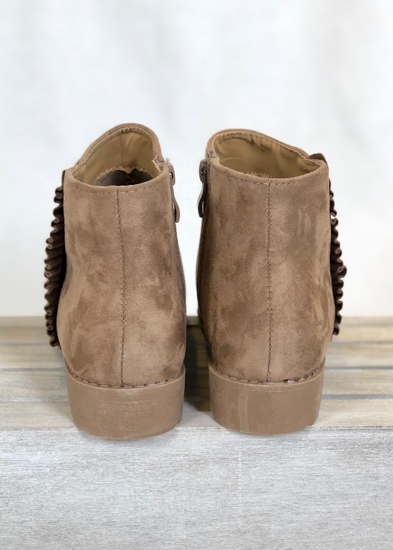 Lola Ruffled Booties - Taupe-FINAL SALE