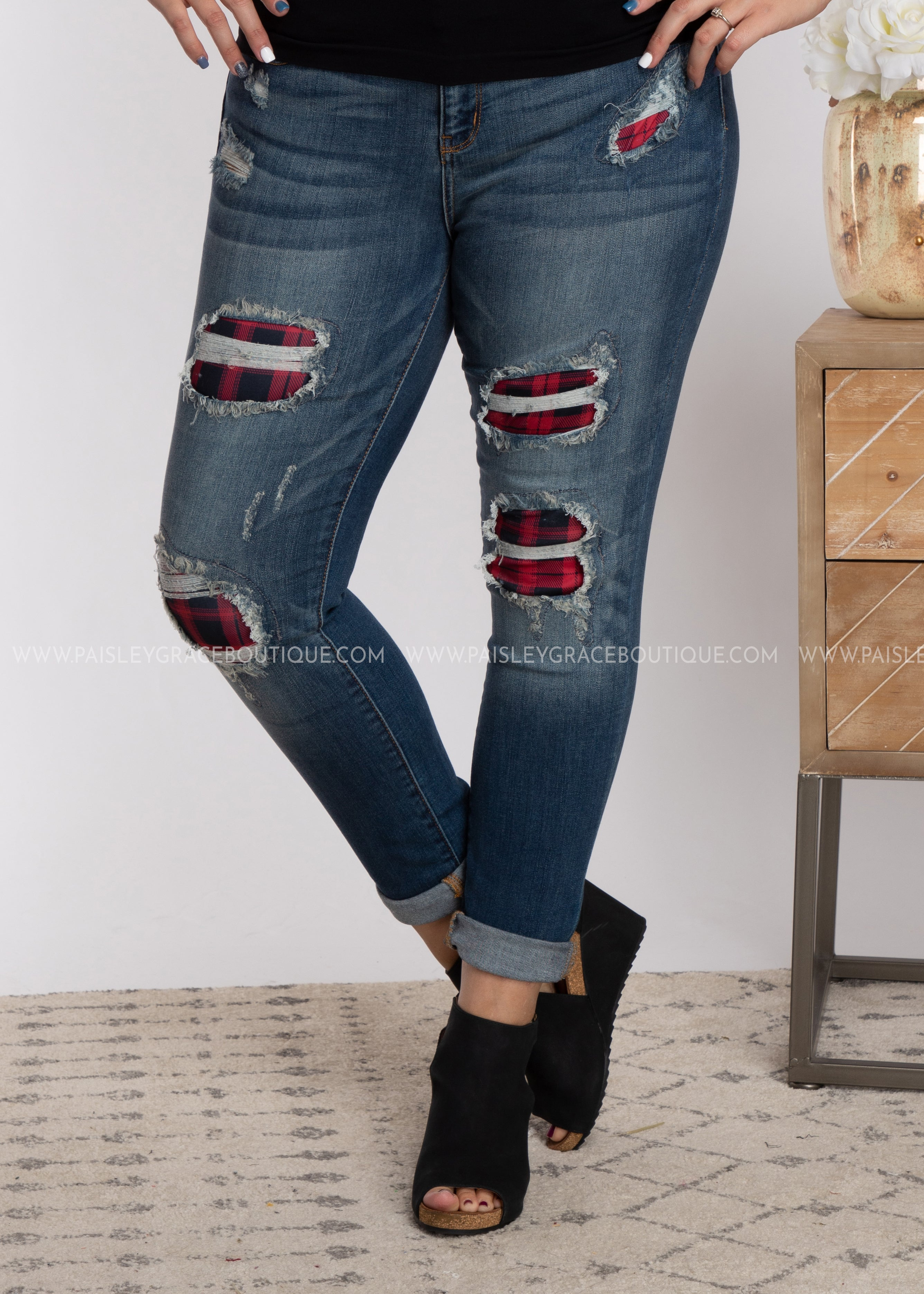 Buffalo Plaid Distressed Jean-RESTOCK
