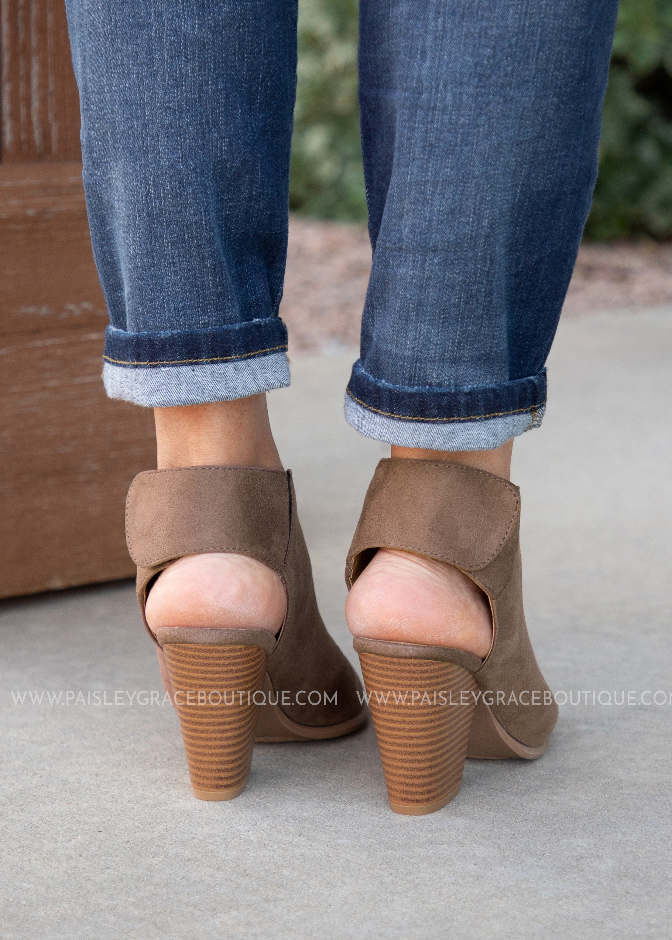 The Next Step Peep Toe Bootie - NUTMEG