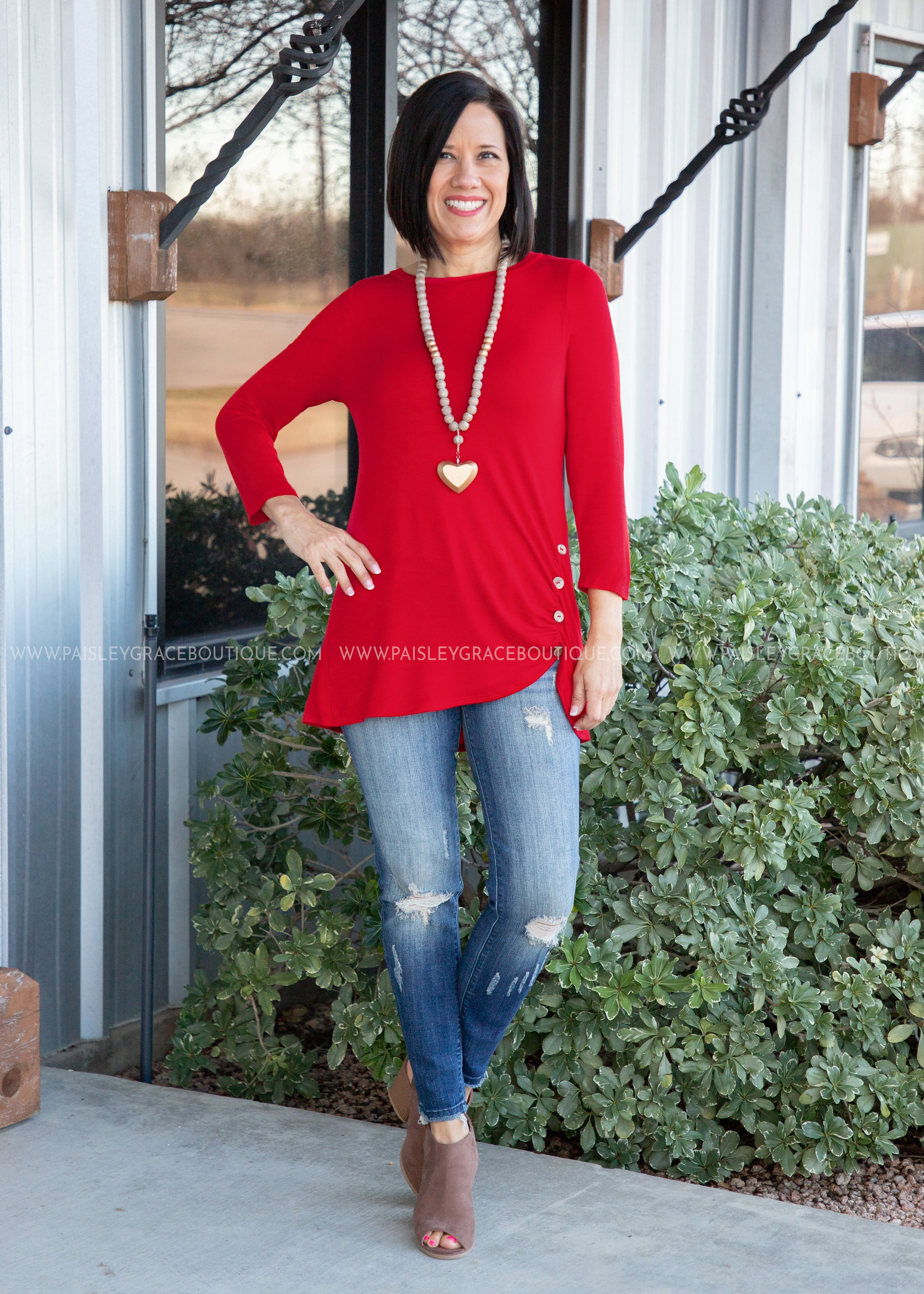 Lori Solid Button Top- RED