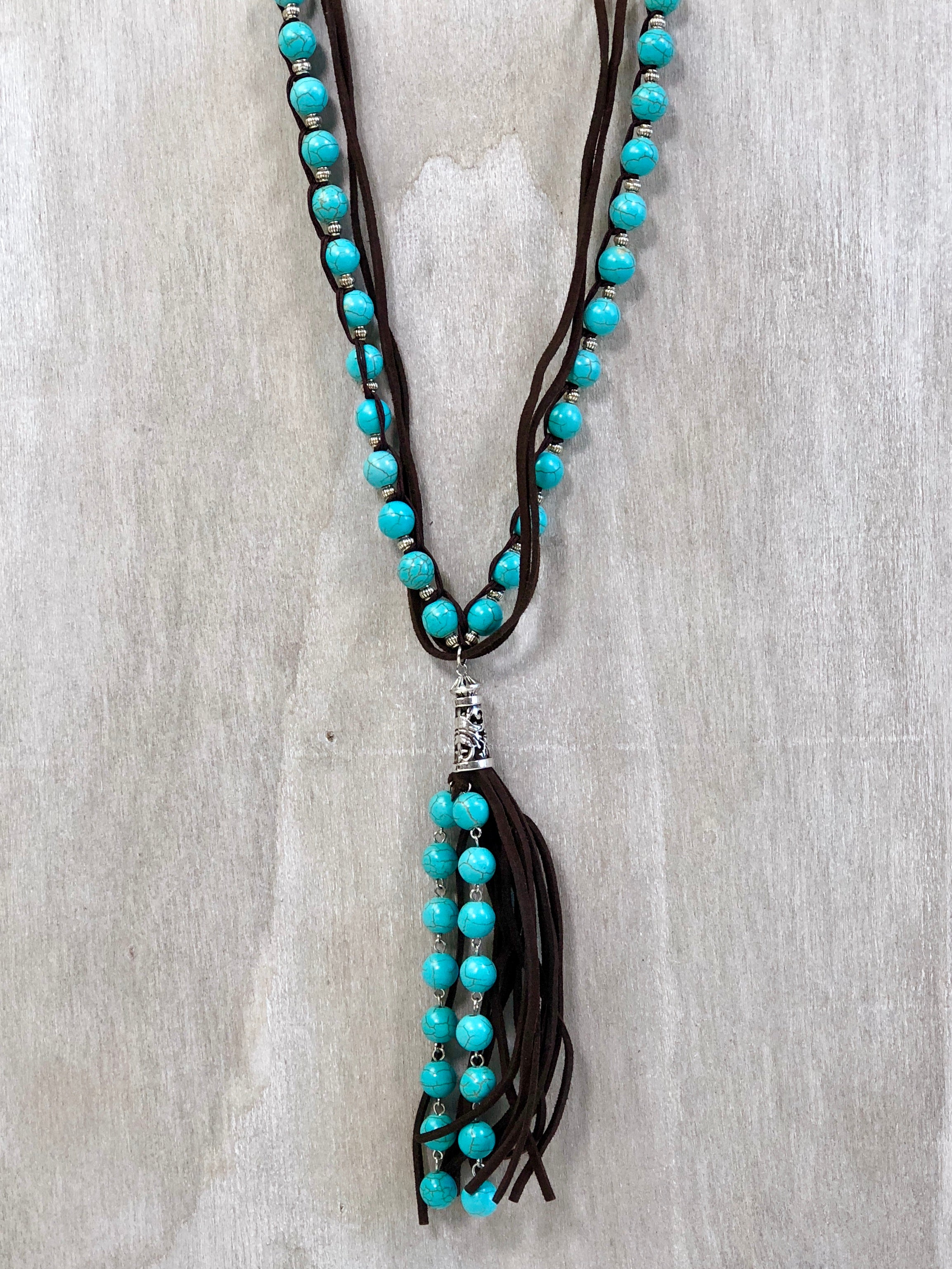 Turquoise Bead & Leather Tassel Necklace