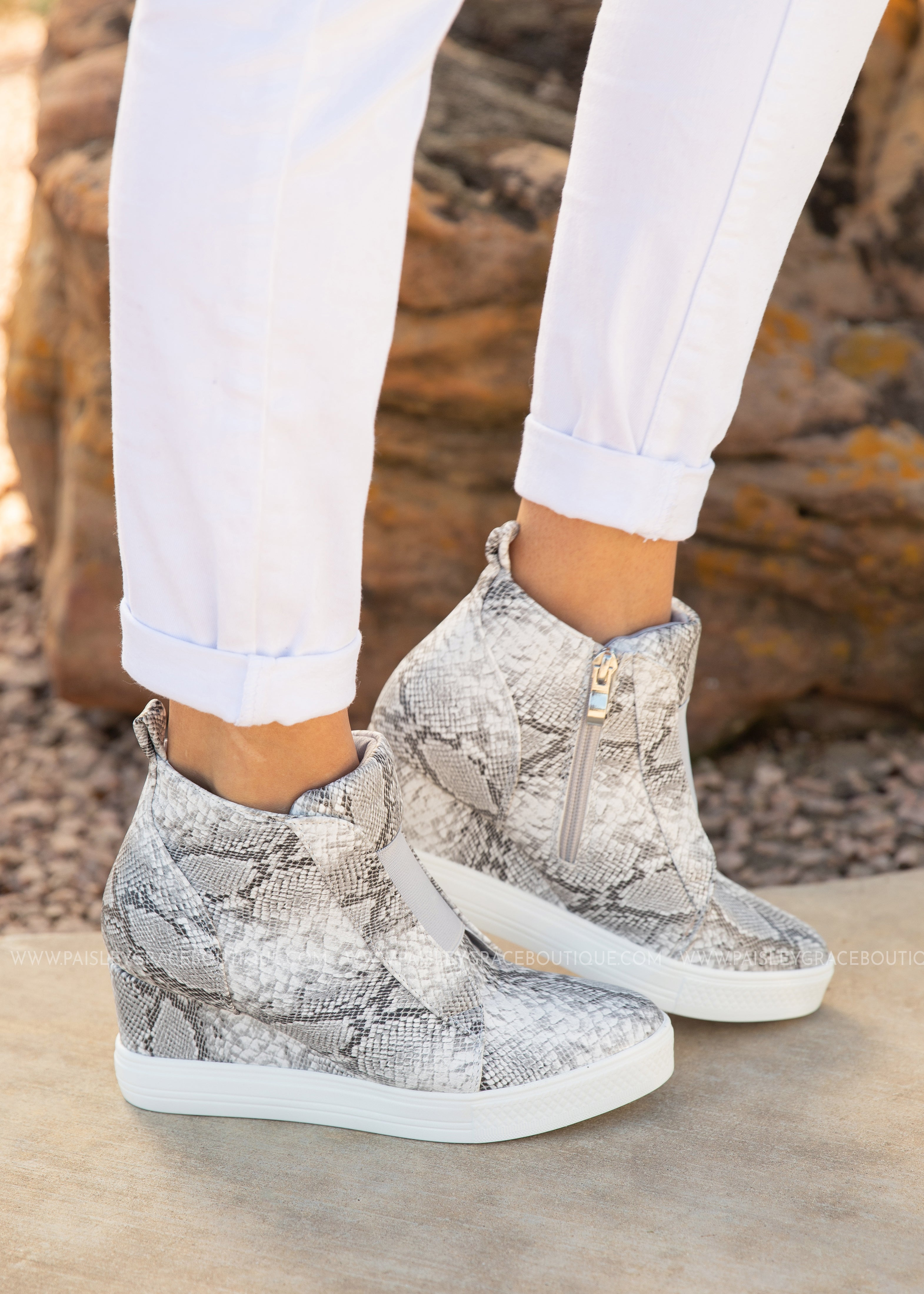 ae315a1ef3 Zoey Wedge Sneaker - SNAKE - Paisley Grace Boutique