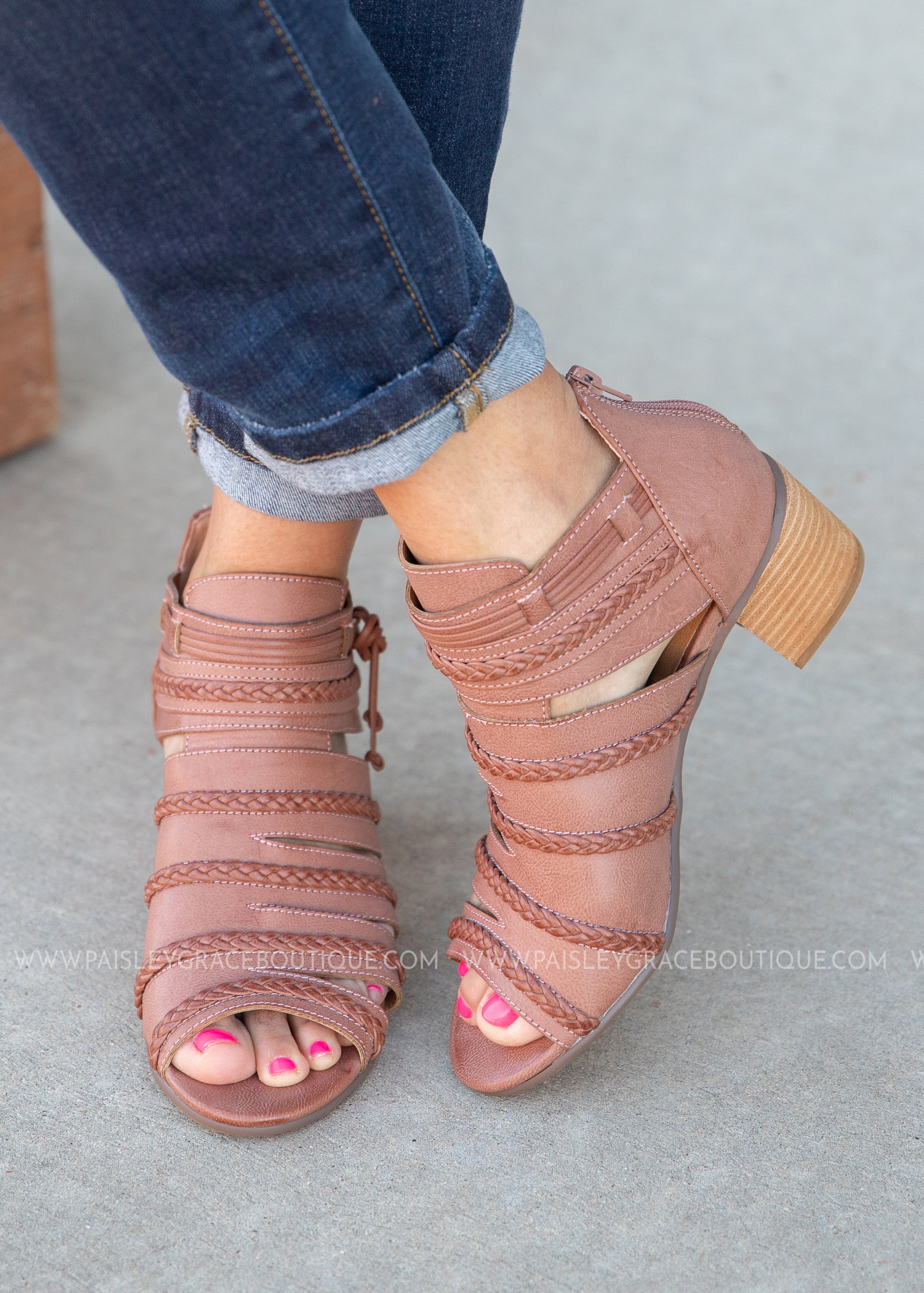 Gianni Peep Toe Booties-DK BLUSH - FINAL SALE