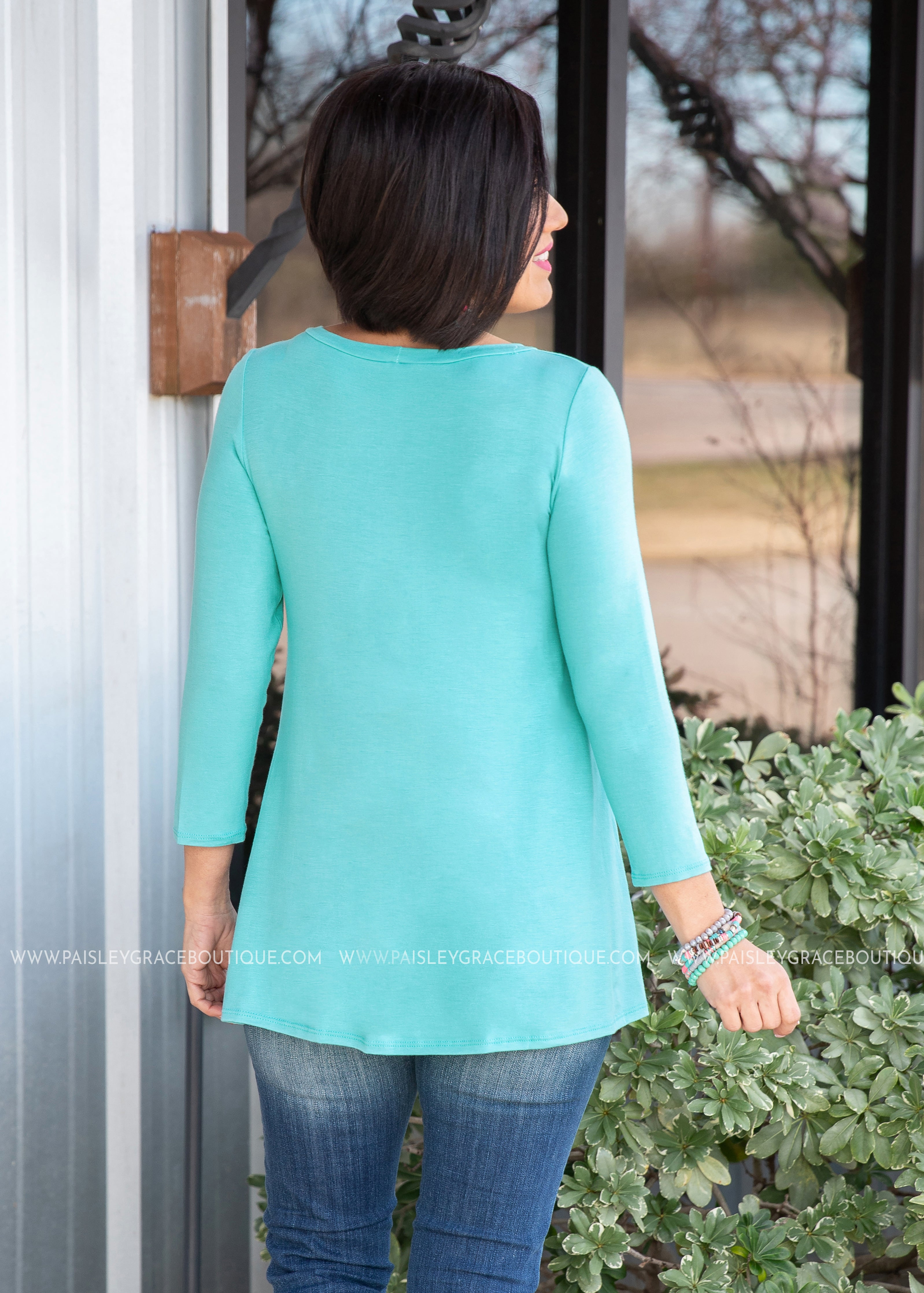 Lori Solid Button Top- AQUA