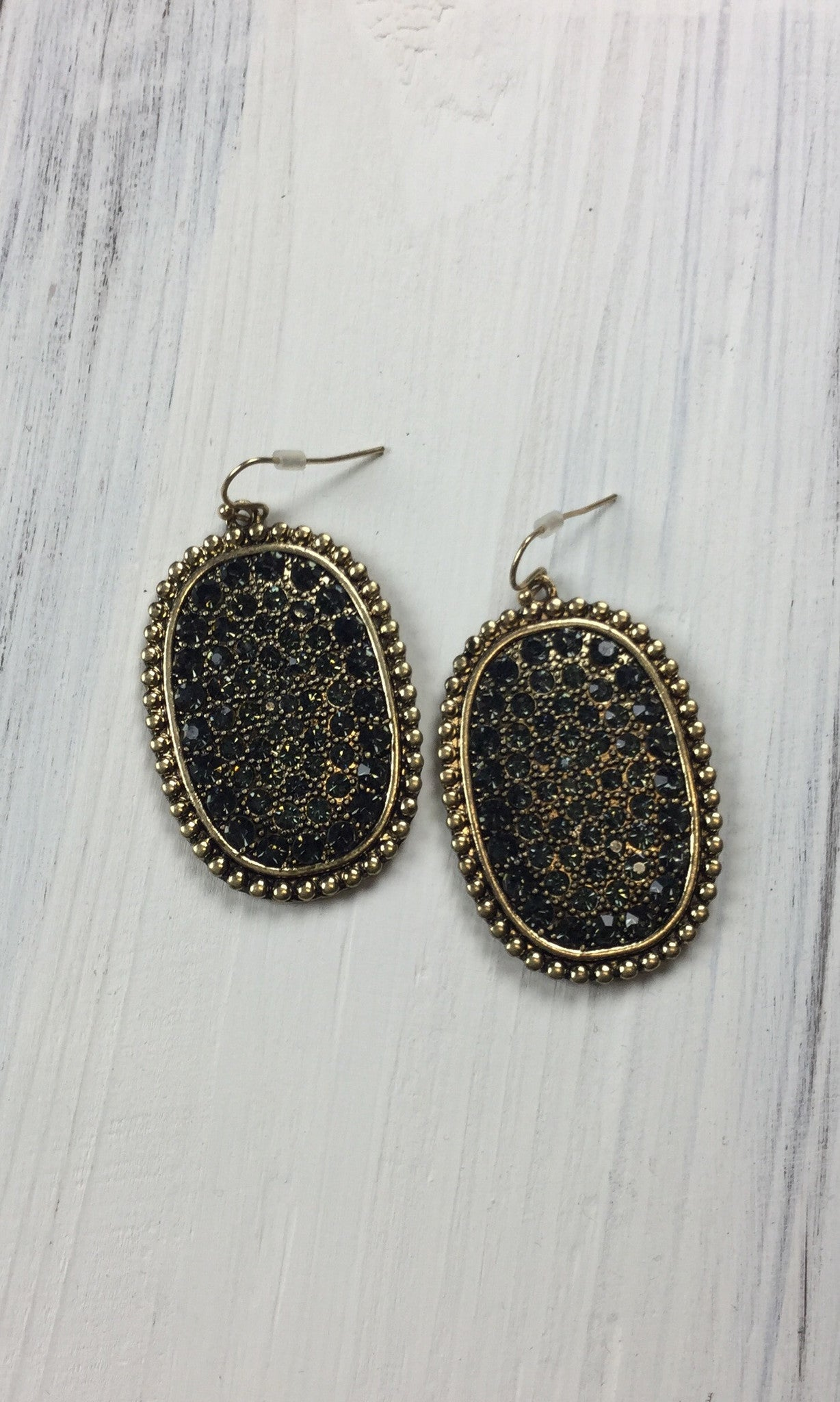 Gold With Black Bling Oval Earrings