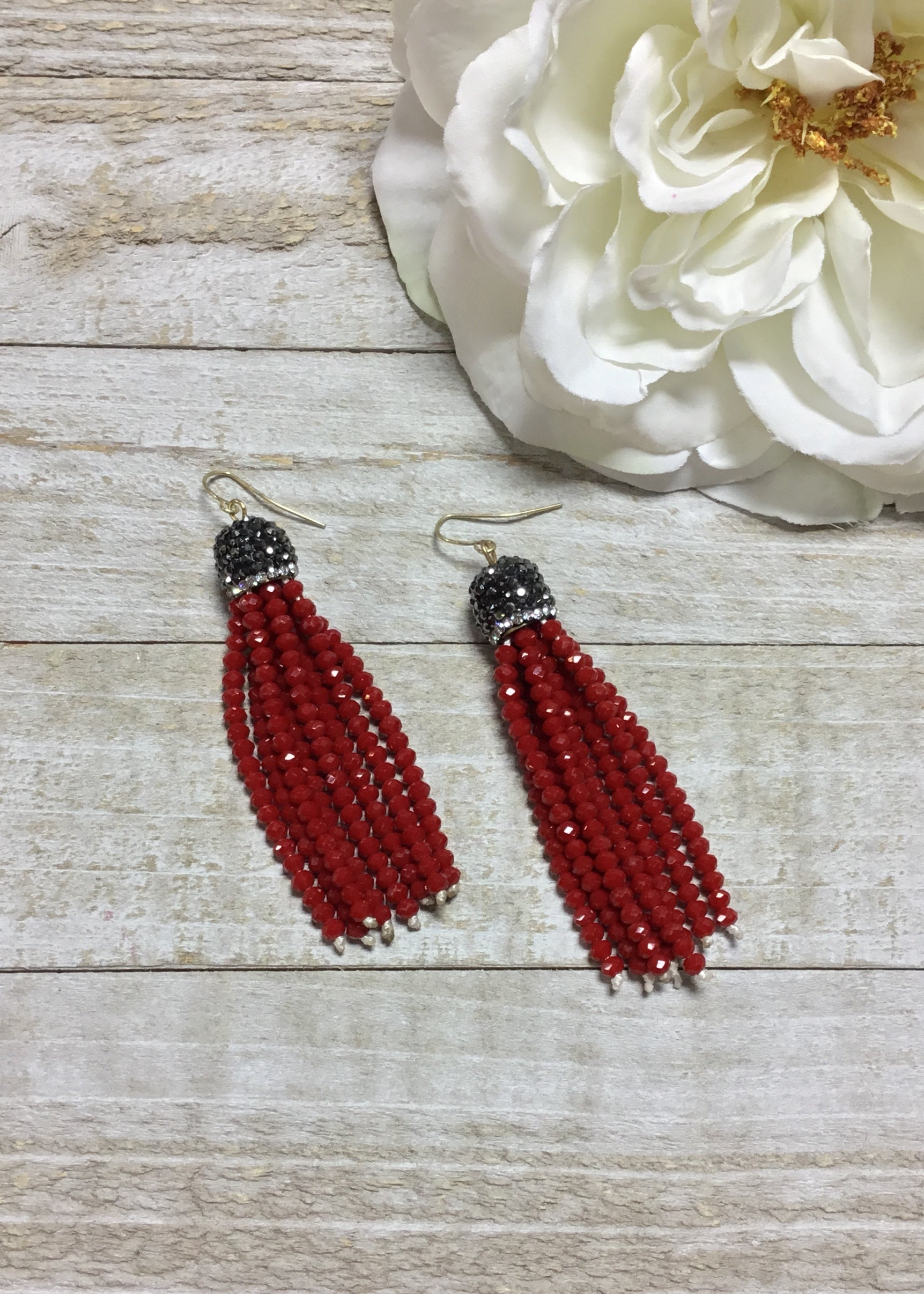 Red Seed Bead Tassel Earrings