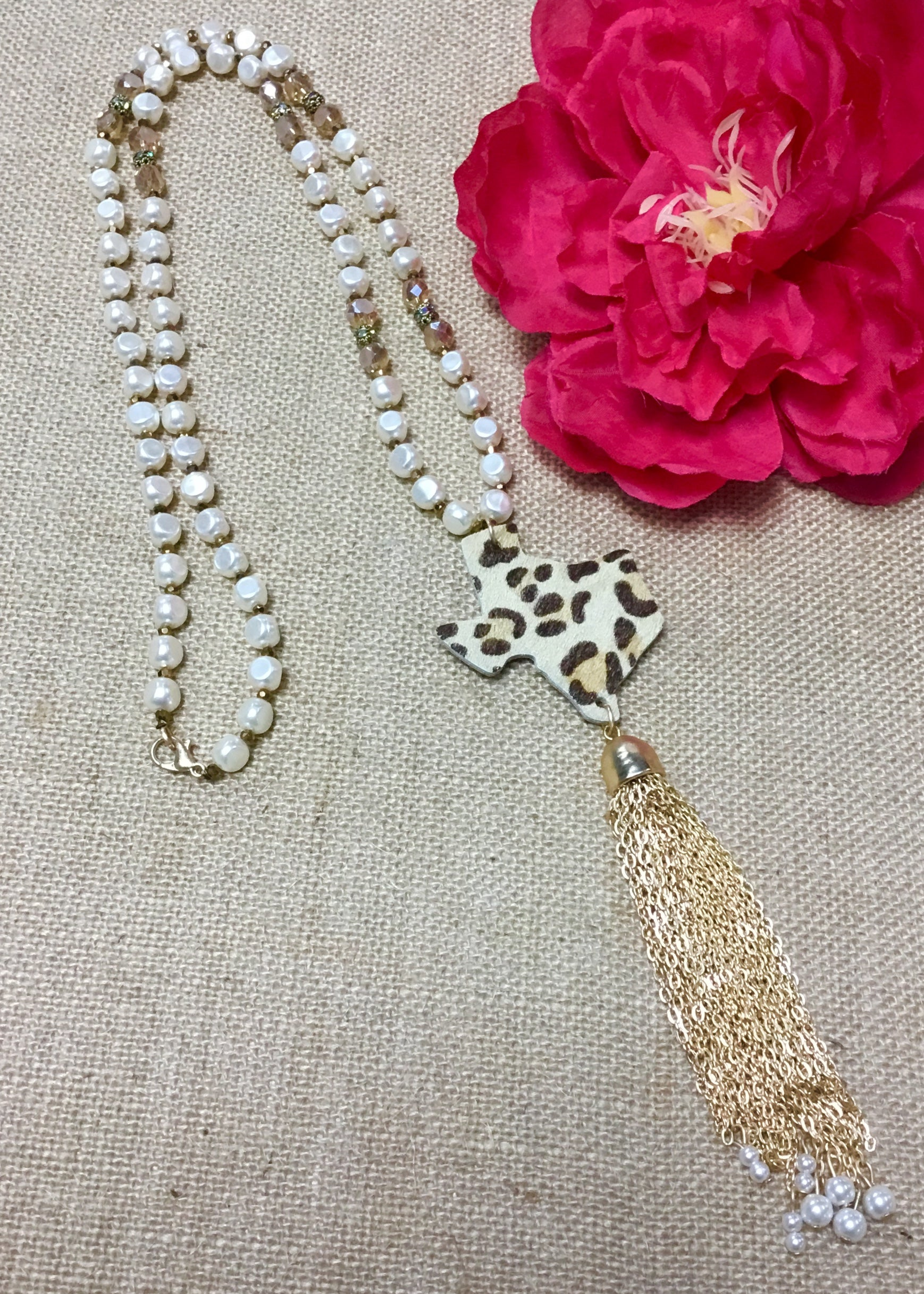 Pearl Leopard Texas & Tassel Necklace