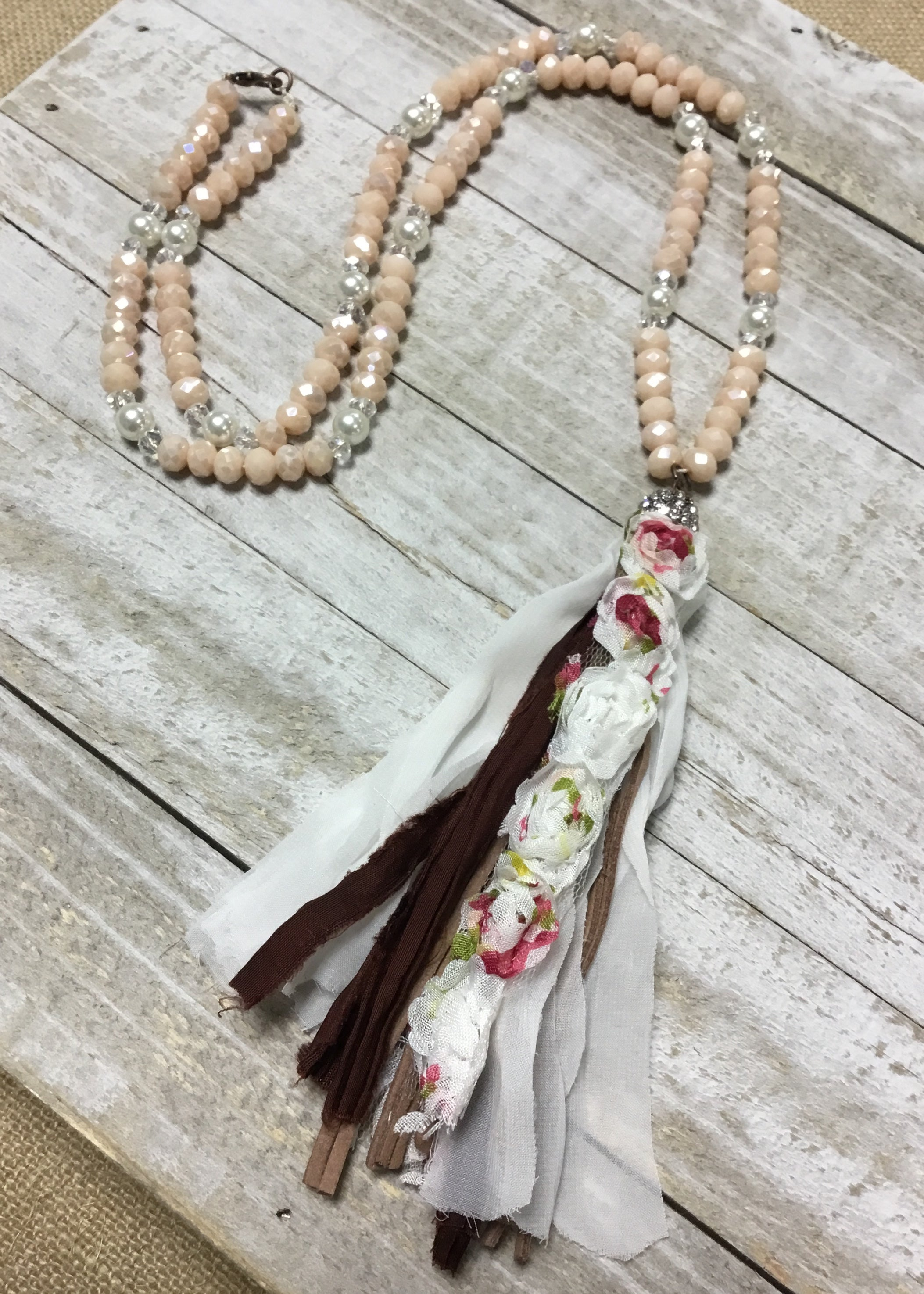 Rose Detail Fabric & Leather Tassel Necklace