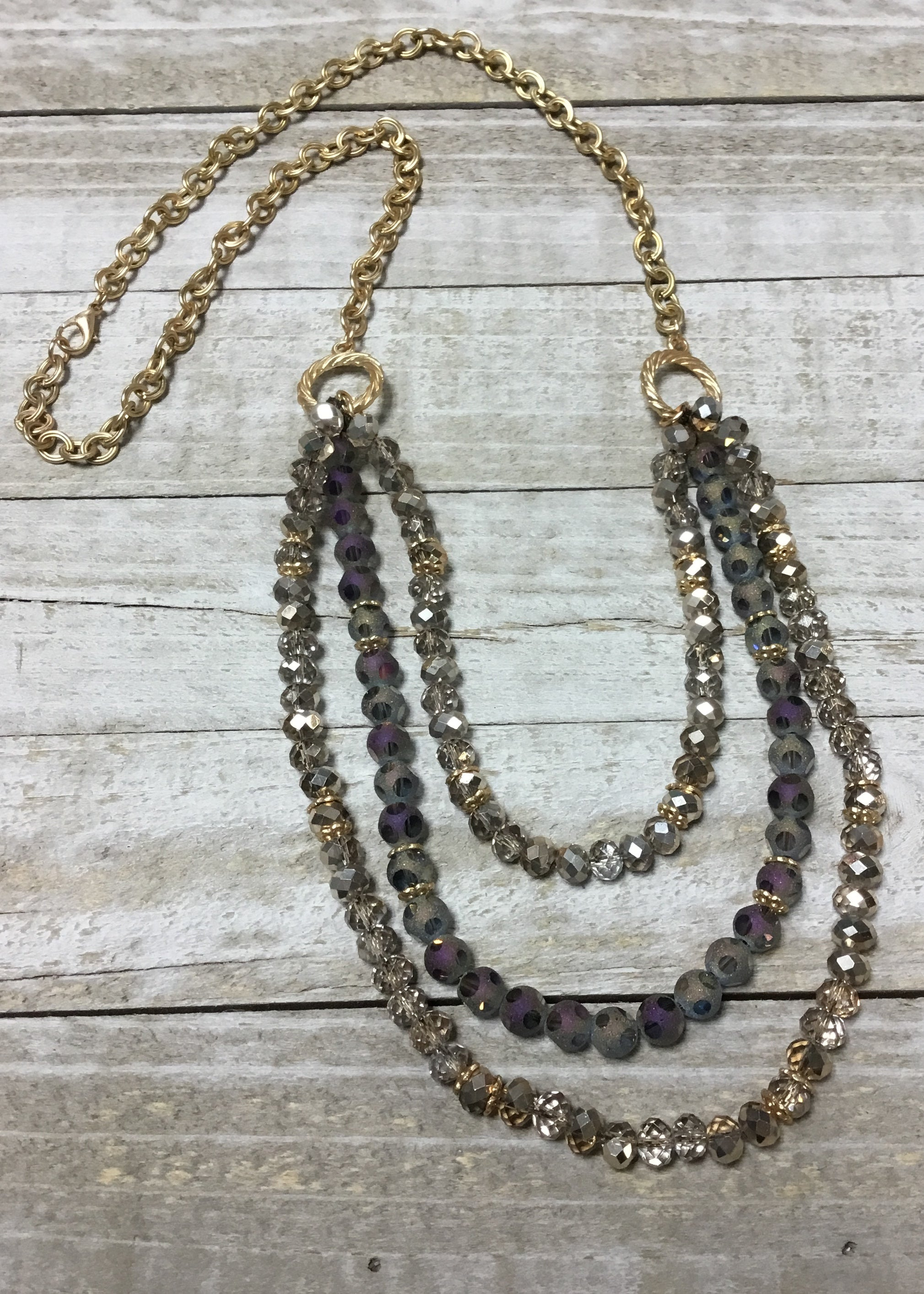Gold & Purple Iridescent Multistrand Necklace