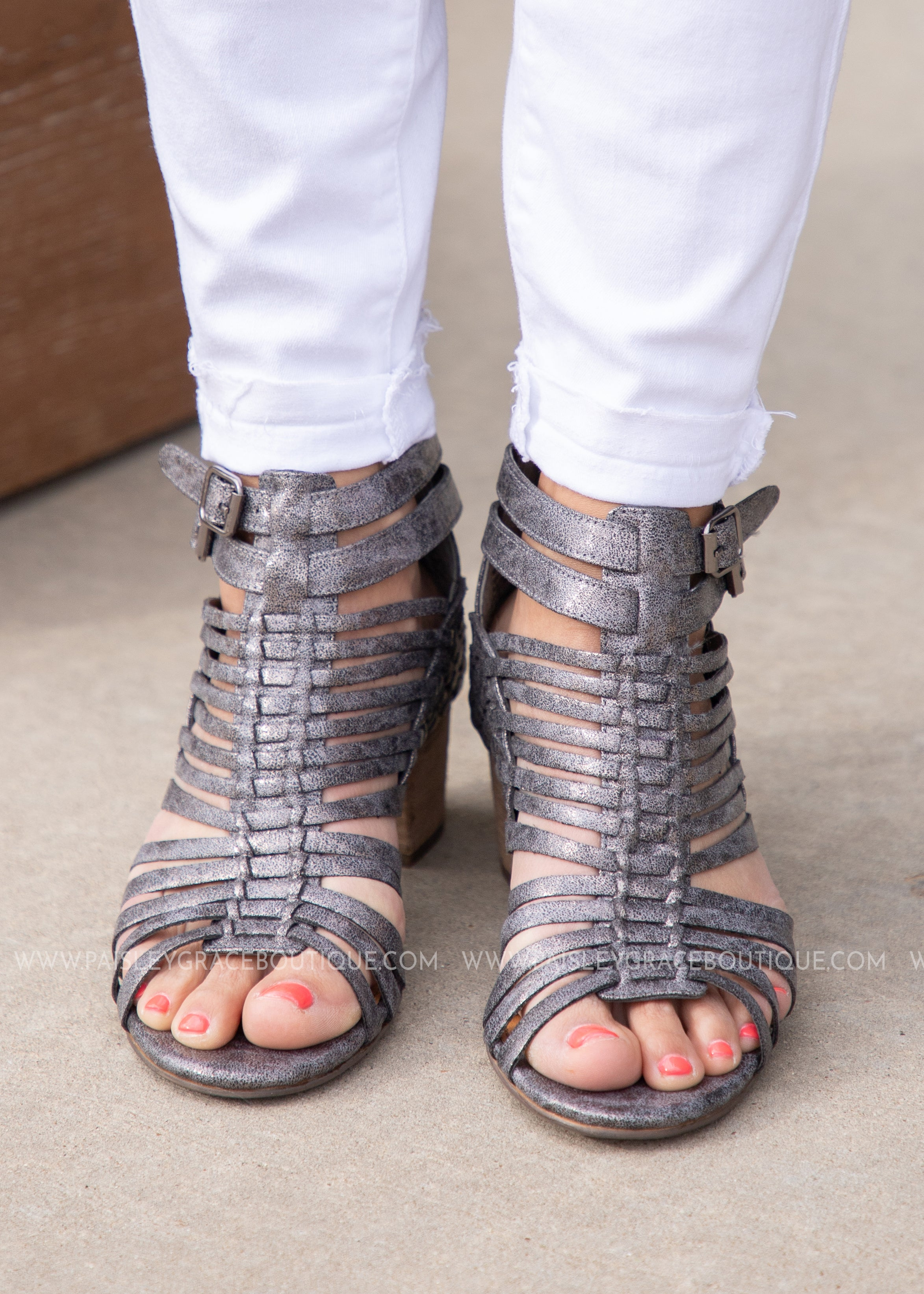 Bella Strappy Booties-PEWTER - FINAL SALE