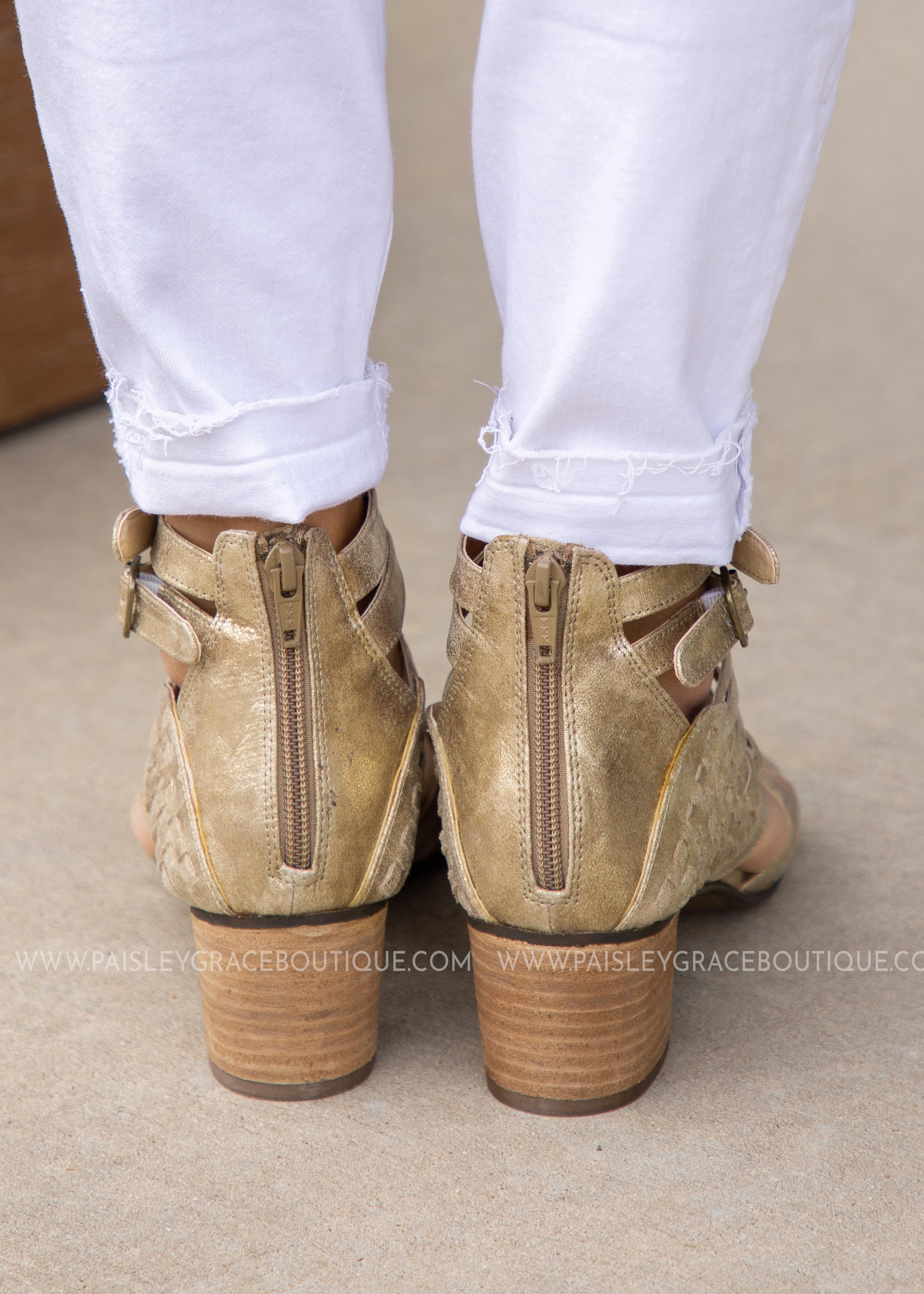 Bella Strappy Booties-GOLD