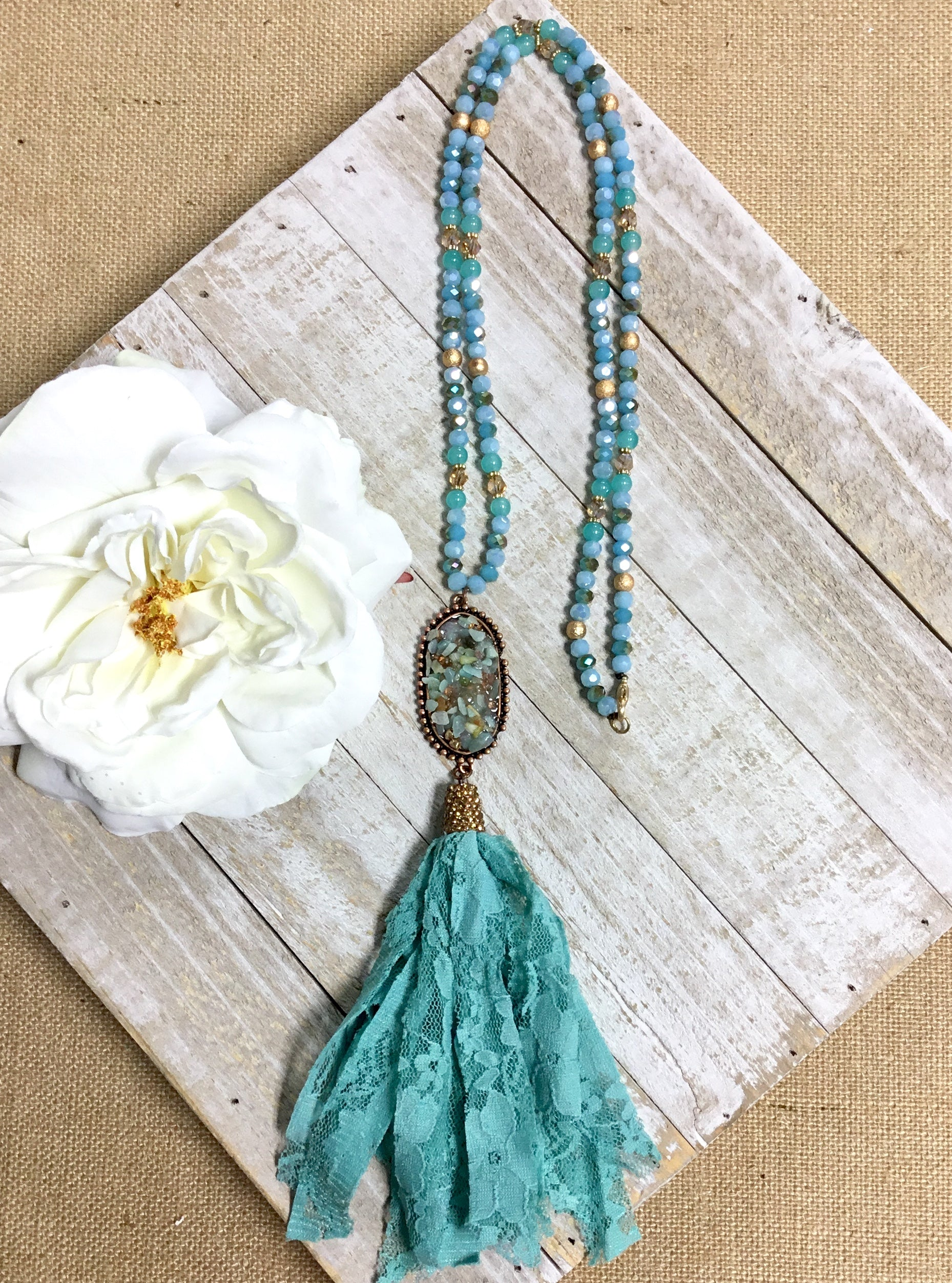 Turquoise Lace Tassel Stone Necklace