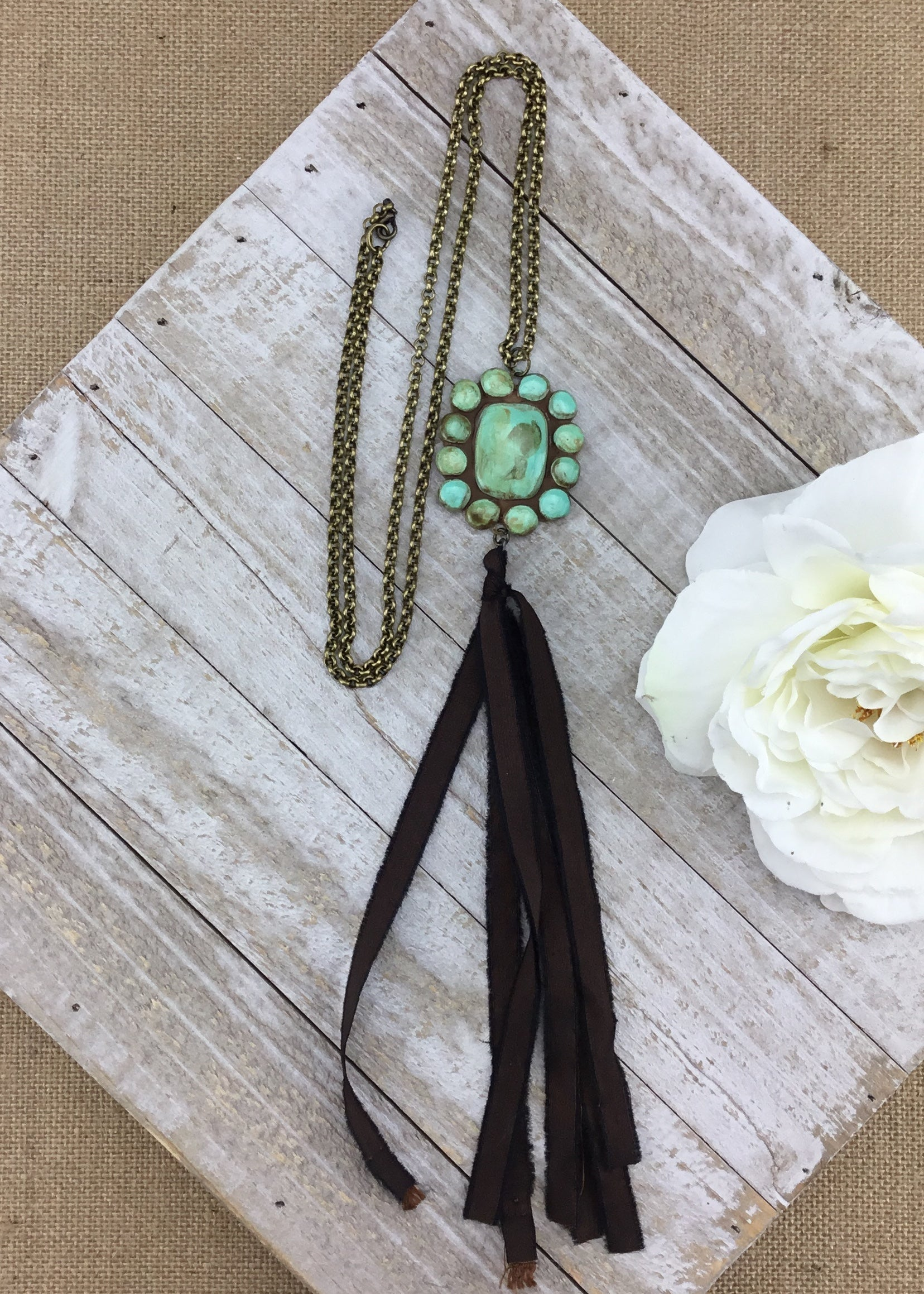Turquoise Clay Medallion w/Silky Tassel Necklace