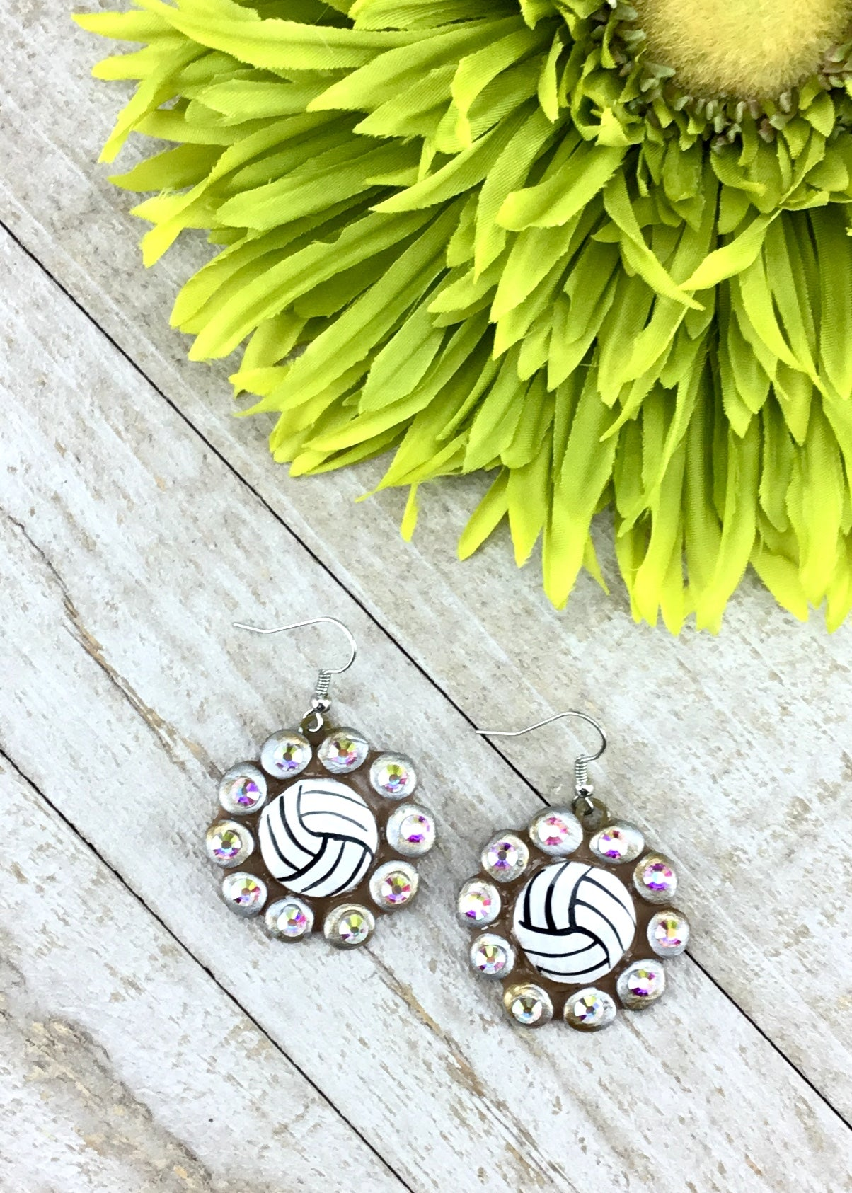 Volleyball Bling Clay Earrings