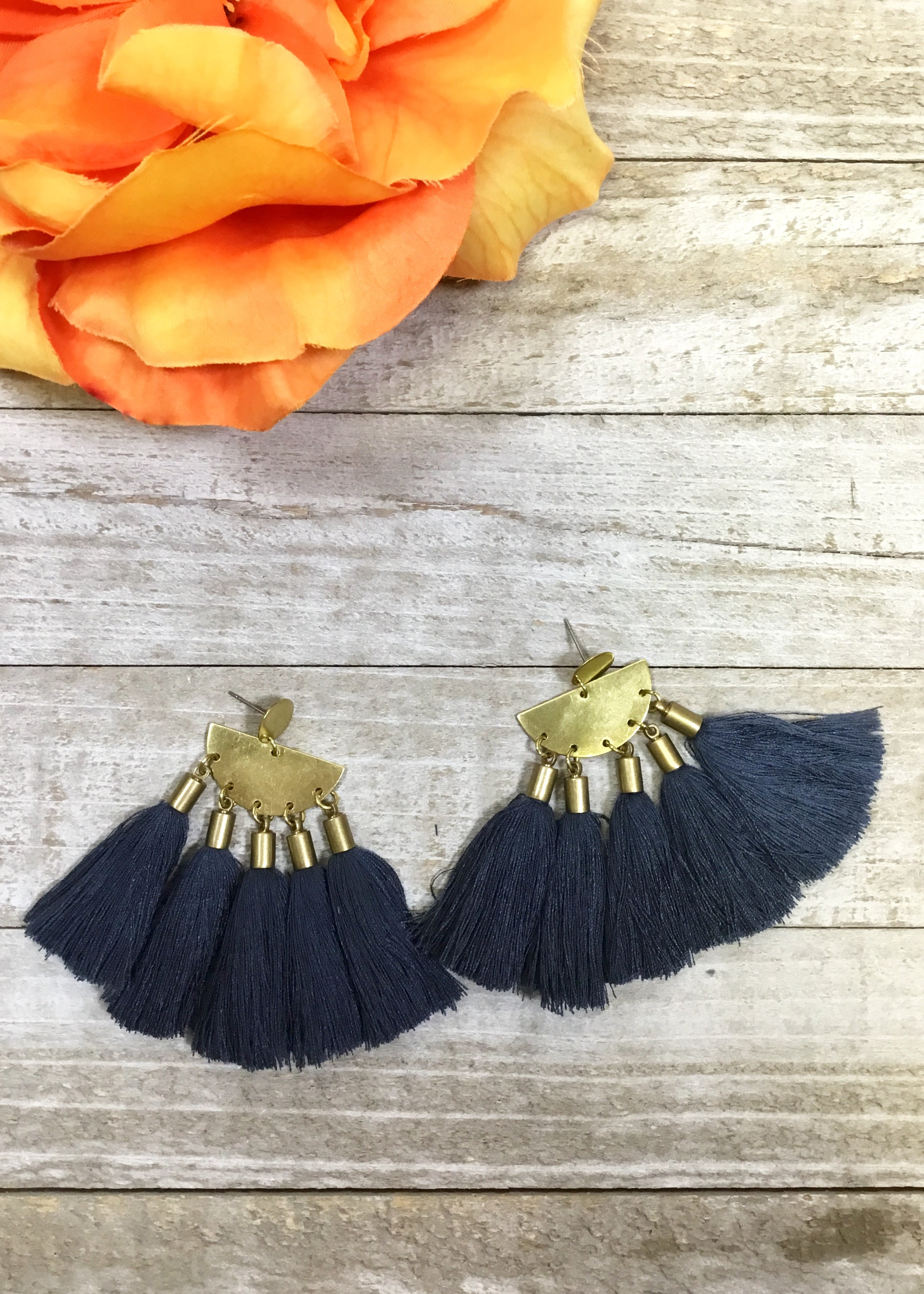 Fan Tassel Earrings-STONE WASH