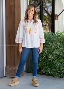 Carmen Embroidered Top - FINAL SALE
