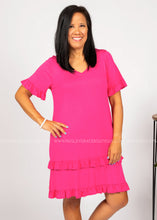 Load image into Gallery viewer, For The Frill Of It Dress - HOT PINK  - FINAL SALE