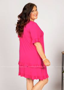 For The Frill Of It Dress - HOT PINK  - FINAL SALE