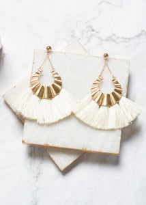 Metal Tassel Earrings- Cream
