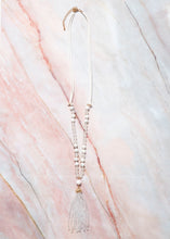 Load image into Gallery viewer, White Beaded Tassel Necklace
