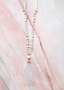 White Beaded Tassel Necklace
