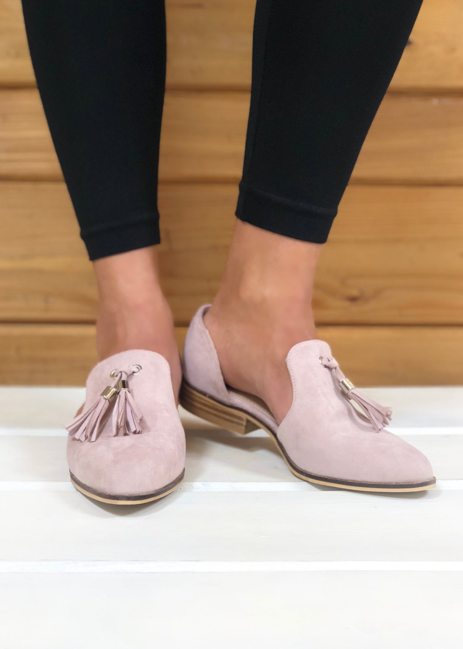 Eyes on You Tassel Loafers - Blush Pink