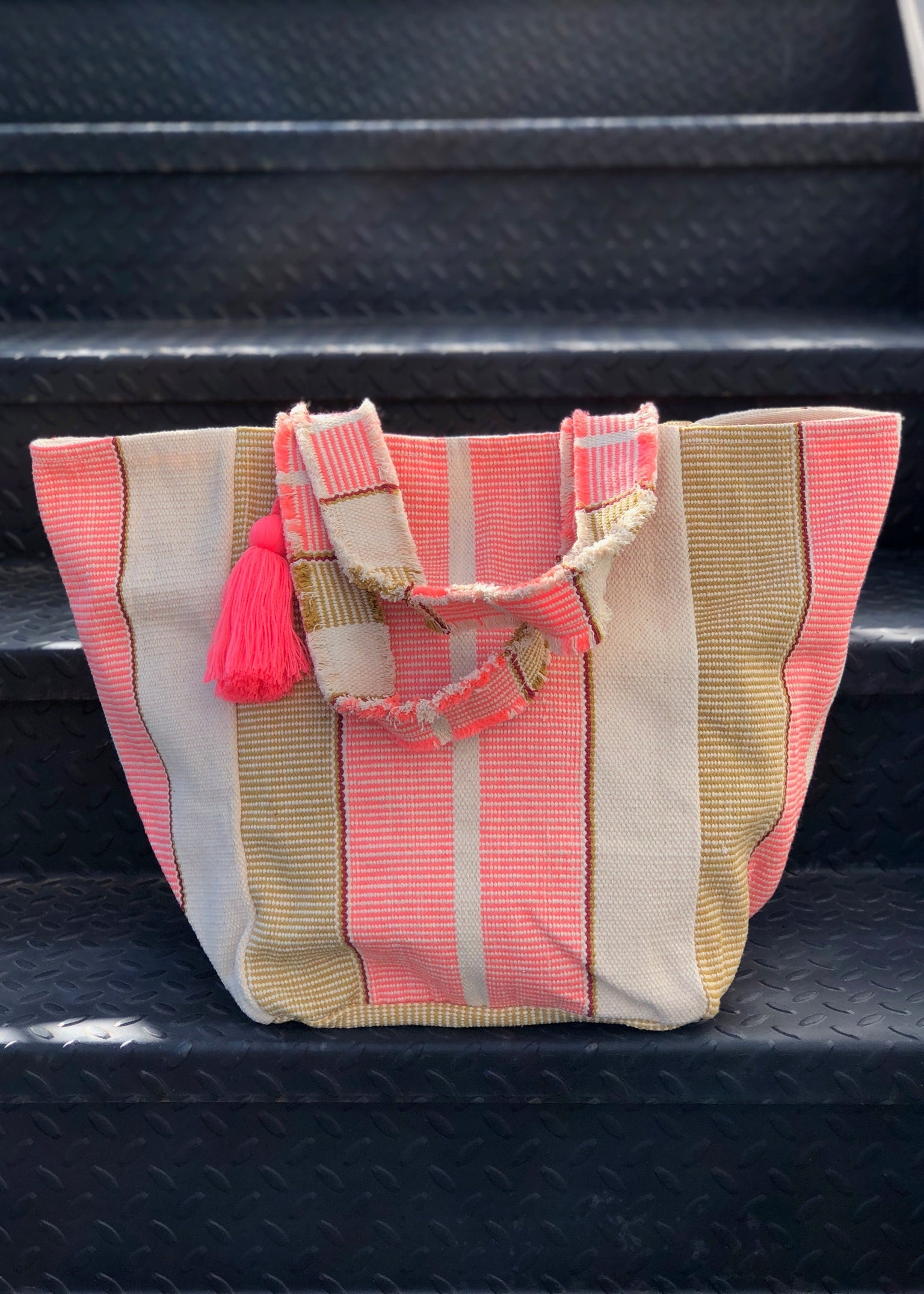 Road Trip Ready Striped Tote