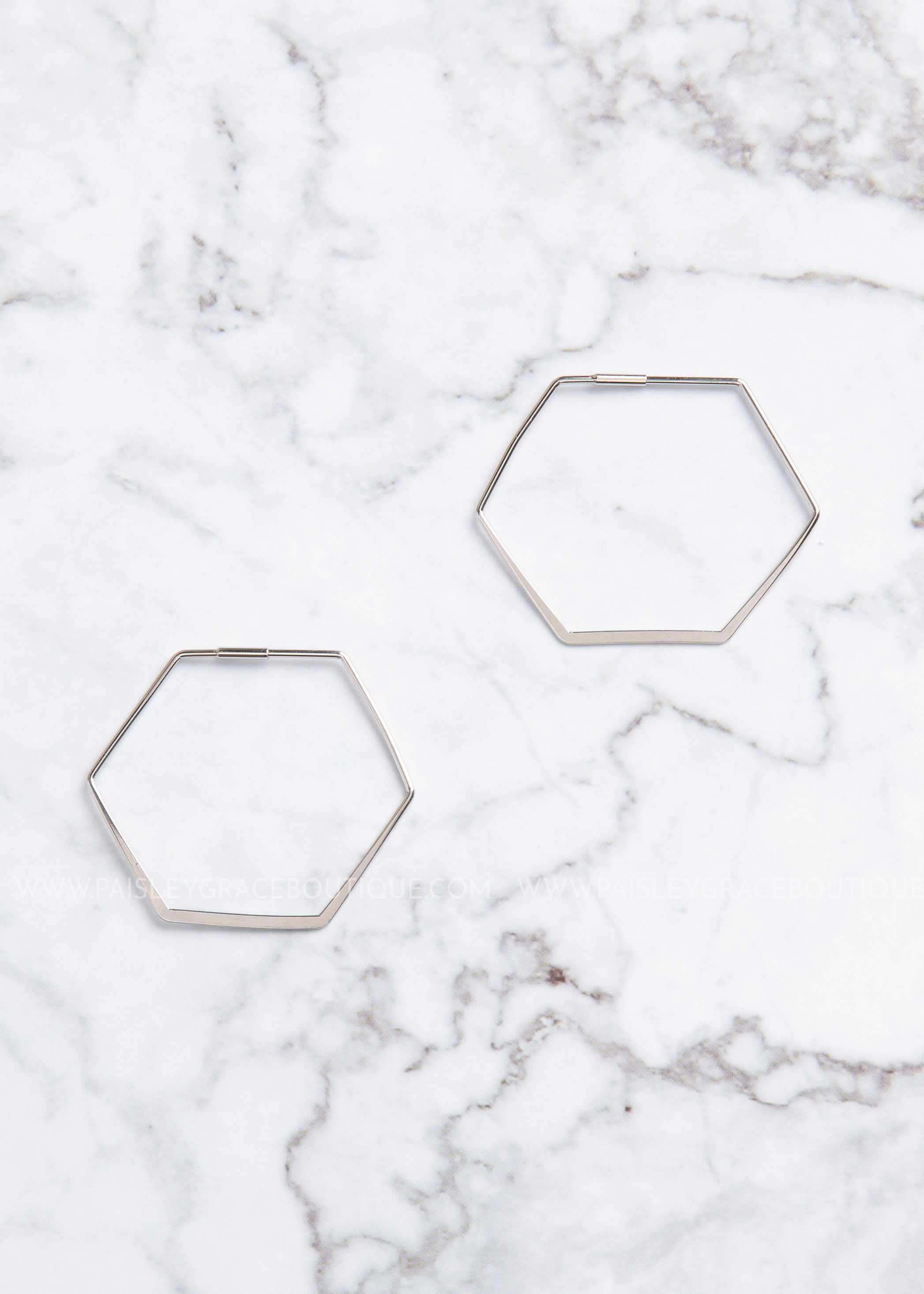 White Gold Dipped Hexagon Earrings