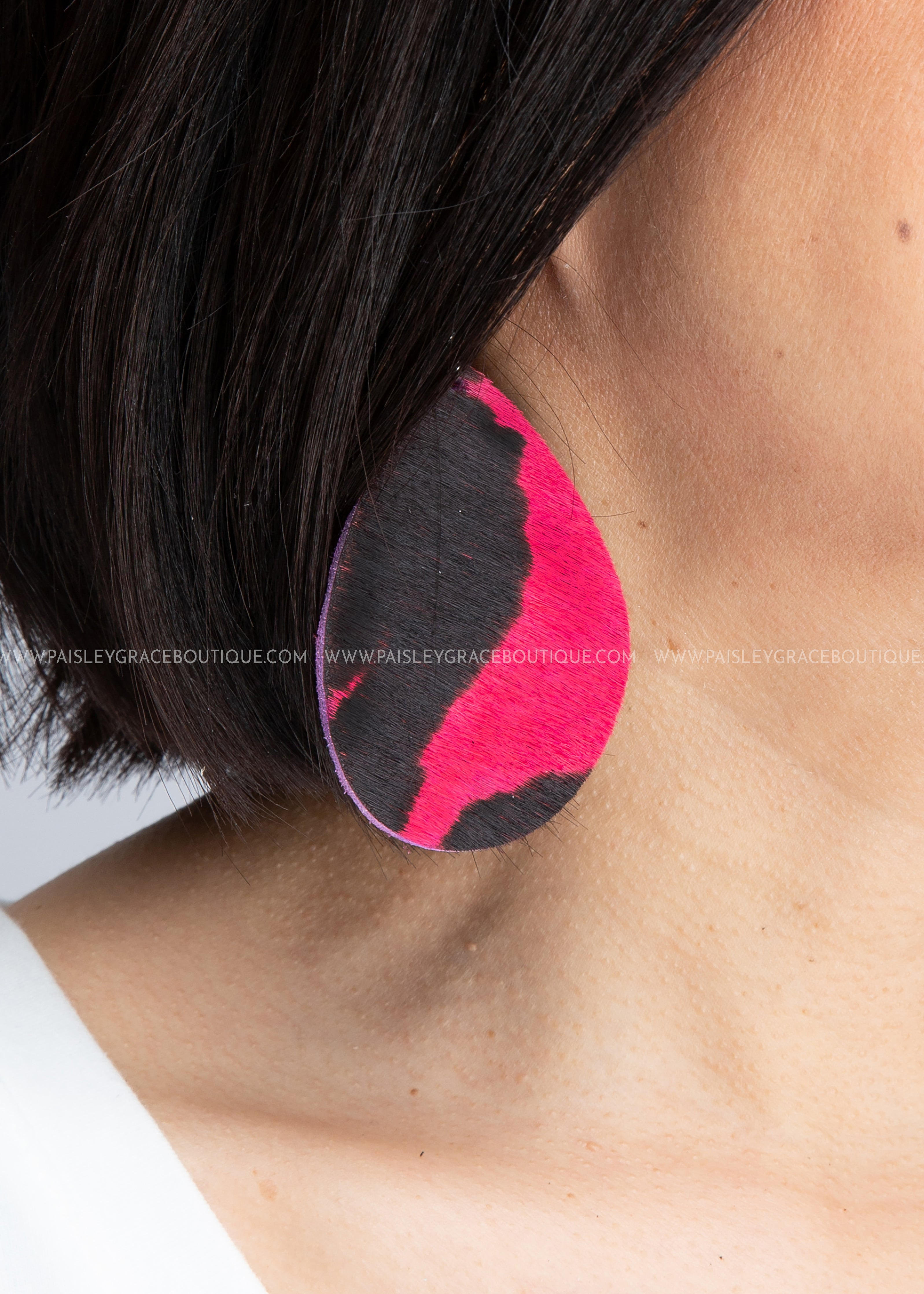 Hot Pink & Black Teardrop Earrings