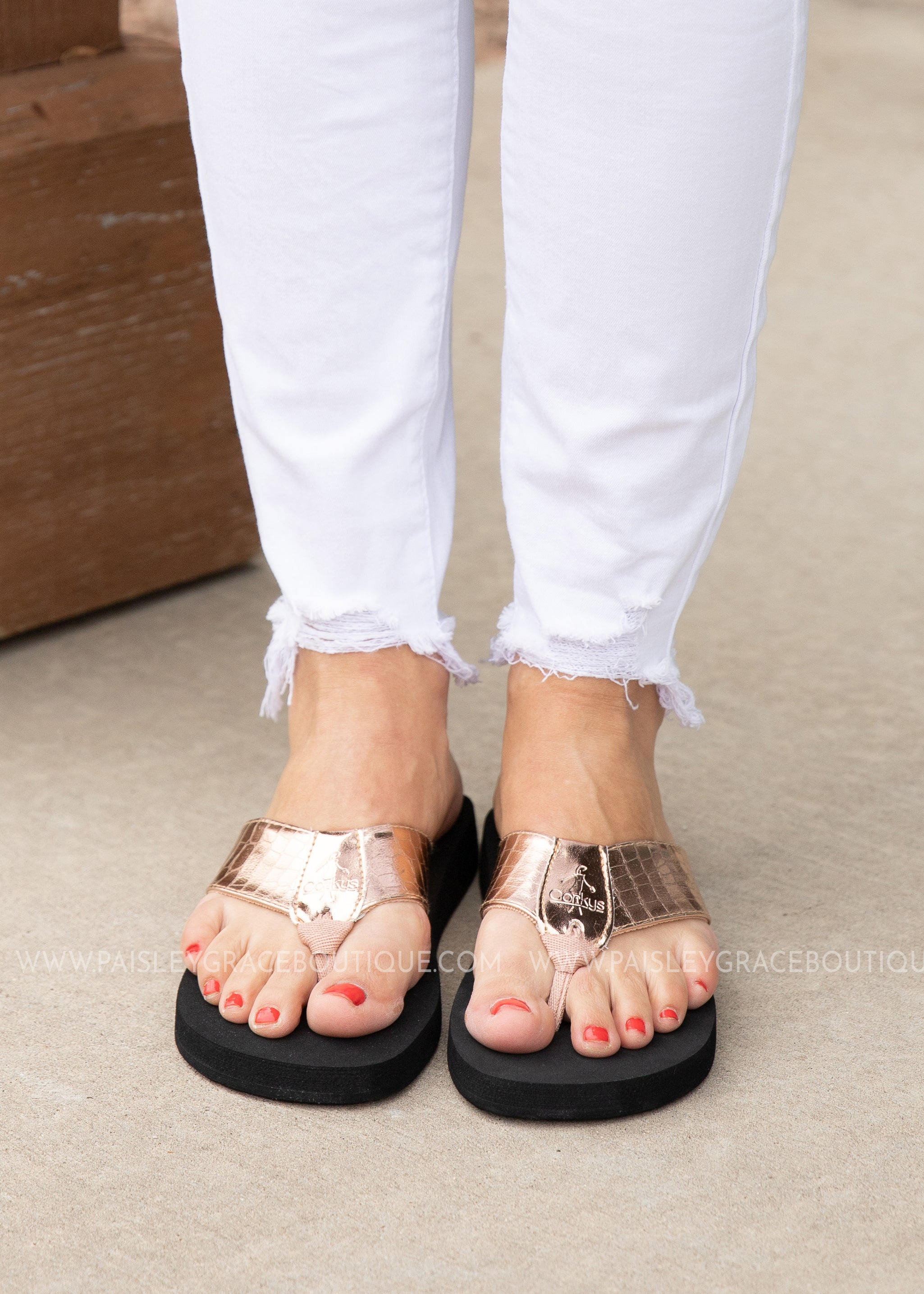 Lumi Flip Flop by Corkys - ROSE GOLD - FINAL SALE