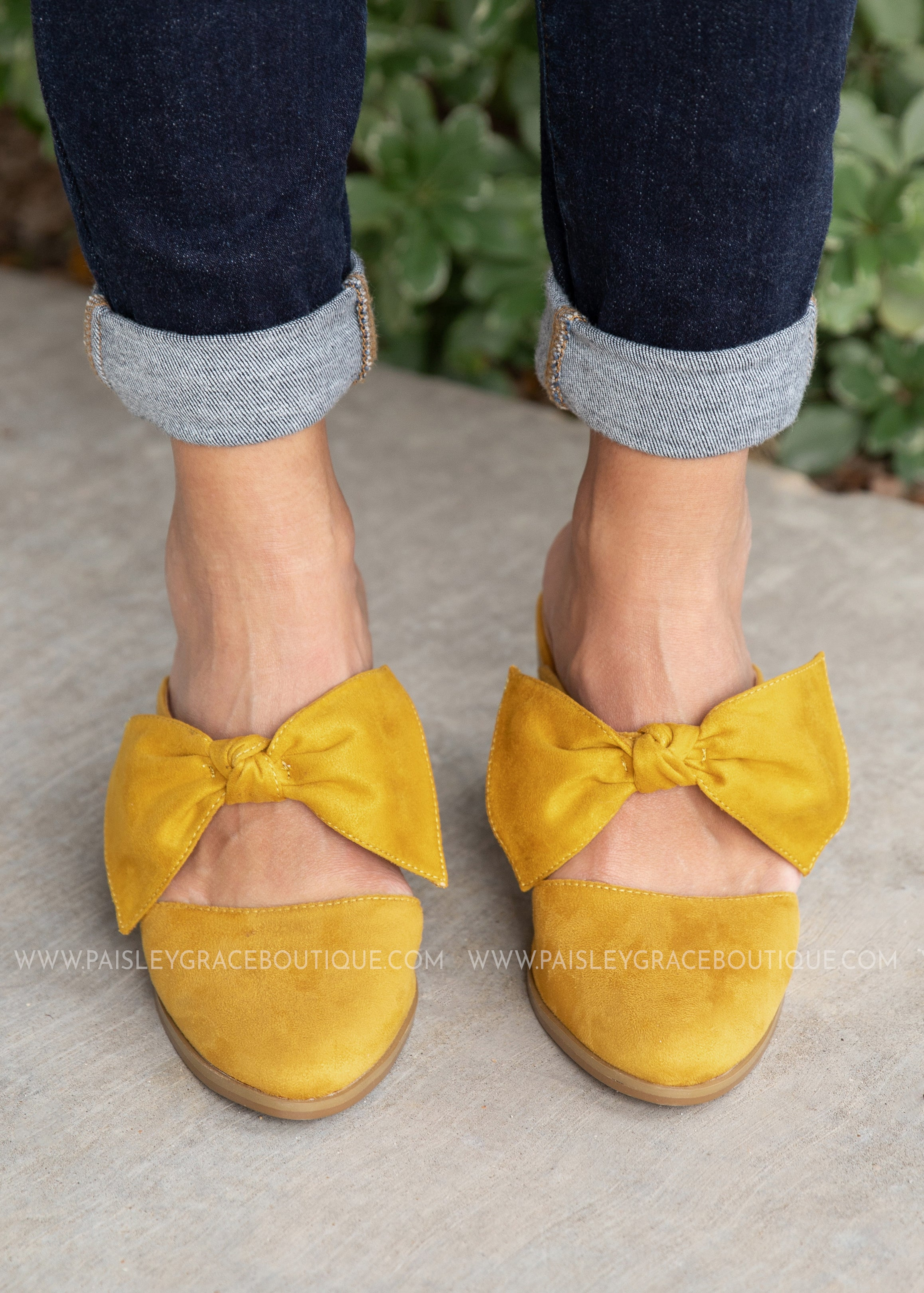 Bow Happy Slide-MUSTARD - FINAL SALE