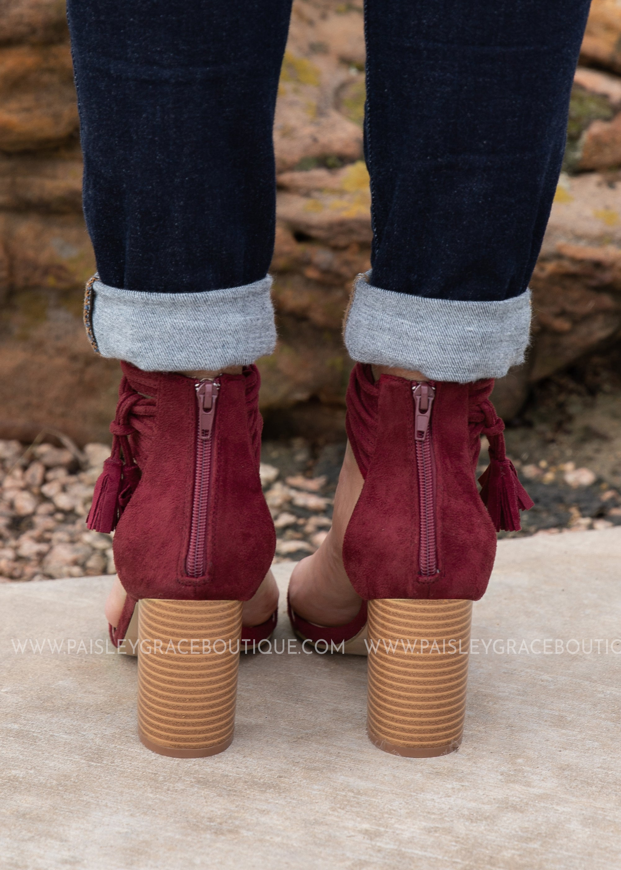 Burgundy Suede Tassel Heel FINAL SALE