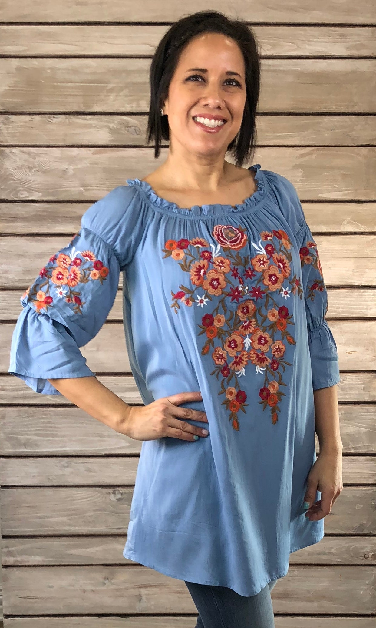 Valentina Embroidered Tunic-DUSTY BLUE