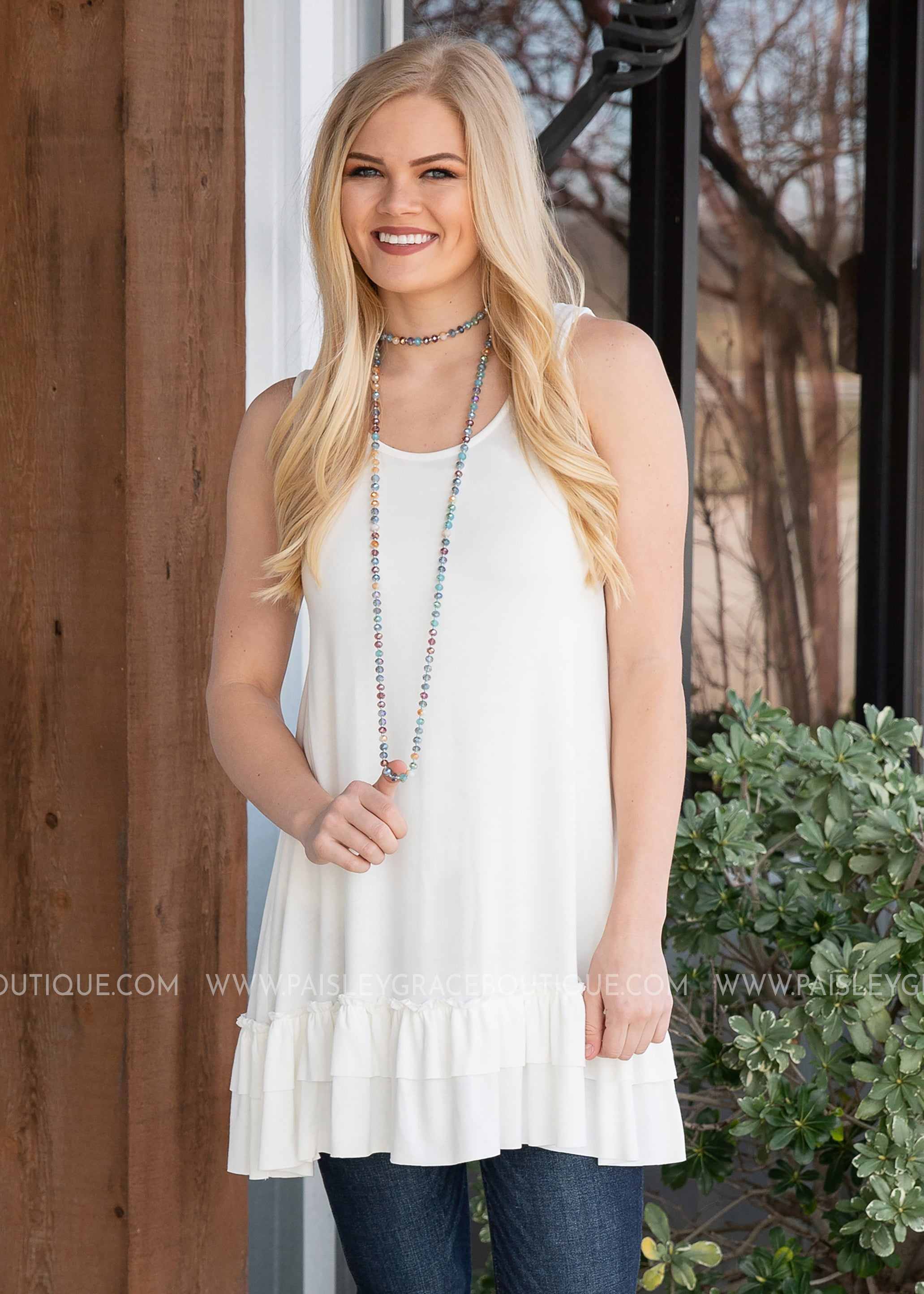 Lexi Tank/Extender- OFF WHITE - FINAL SALE