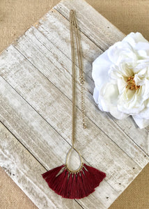 Burgundy Tassel Hoop Necklace  - FINAL SALE