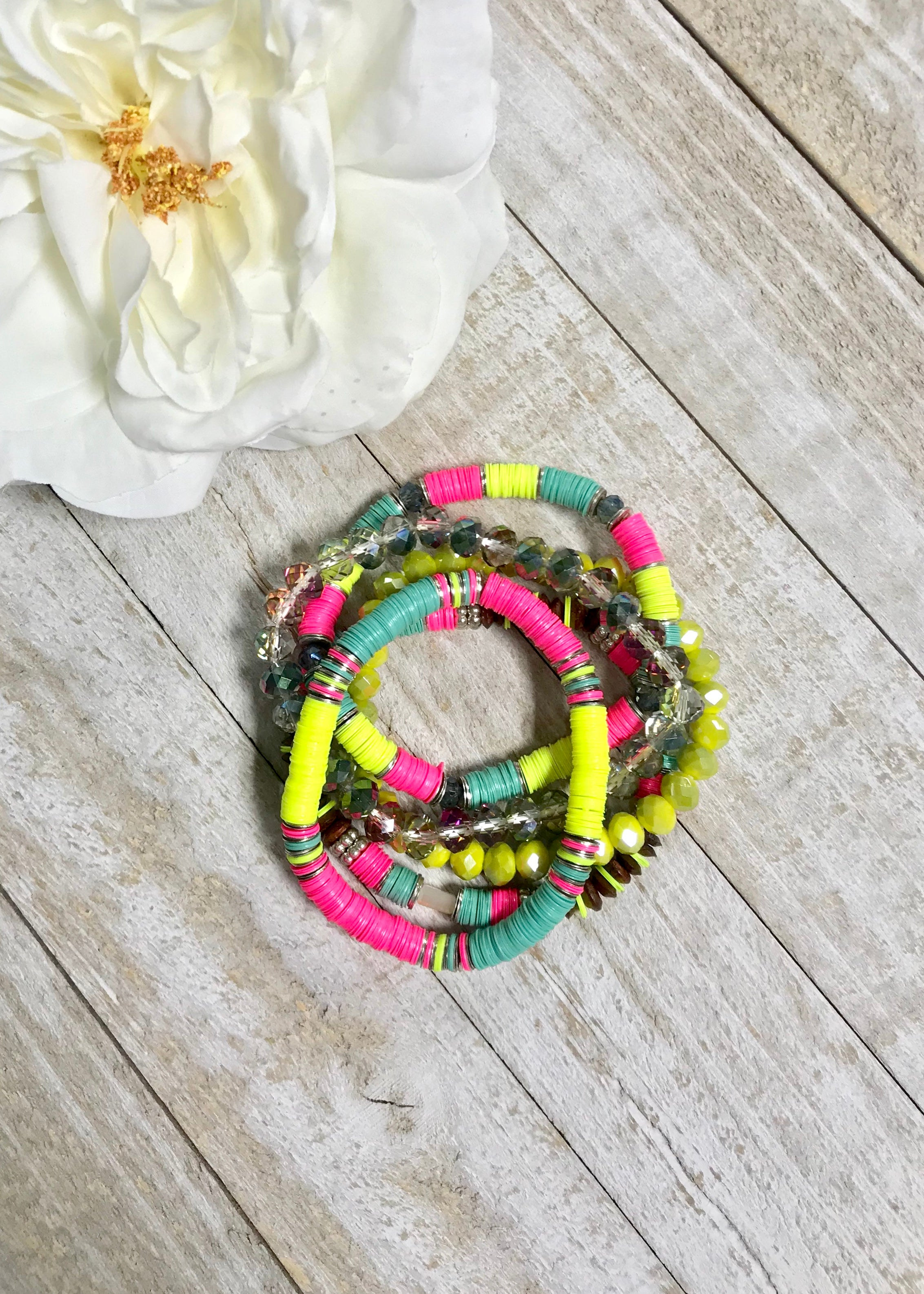 Neon Yellow Bracelet Set