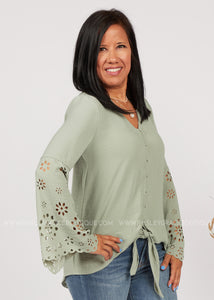 Forget Me Knot Top-SAGE  - FINAL SALE