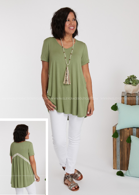 Laced Together Top- SAGE
