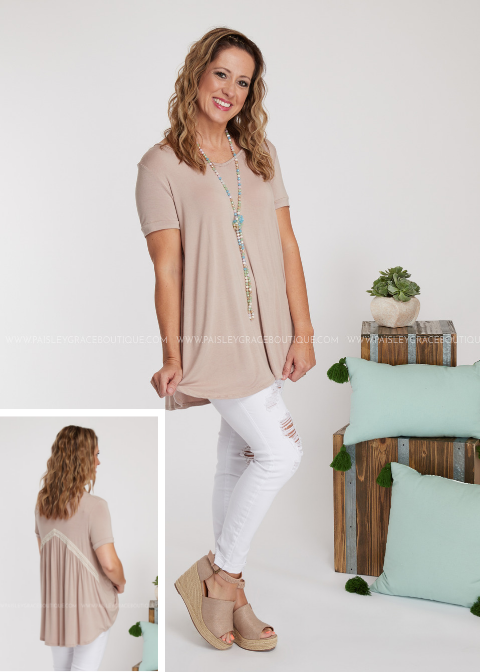 Laced Together Top - TAUPE-RESTOCK
