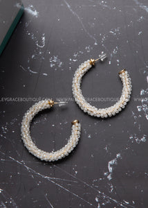Beaded Hoop Earrings- white