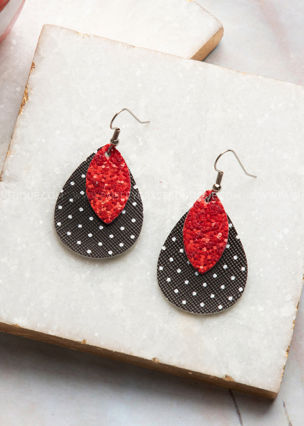 Red & Black Polka Dot Mini Teardrop Earrings