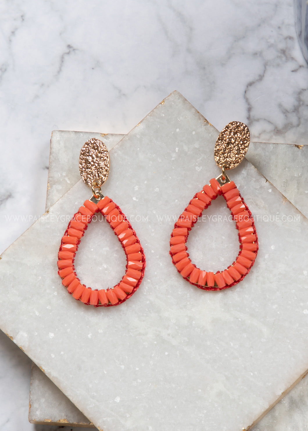 So In Style Drop Earrings- Coral