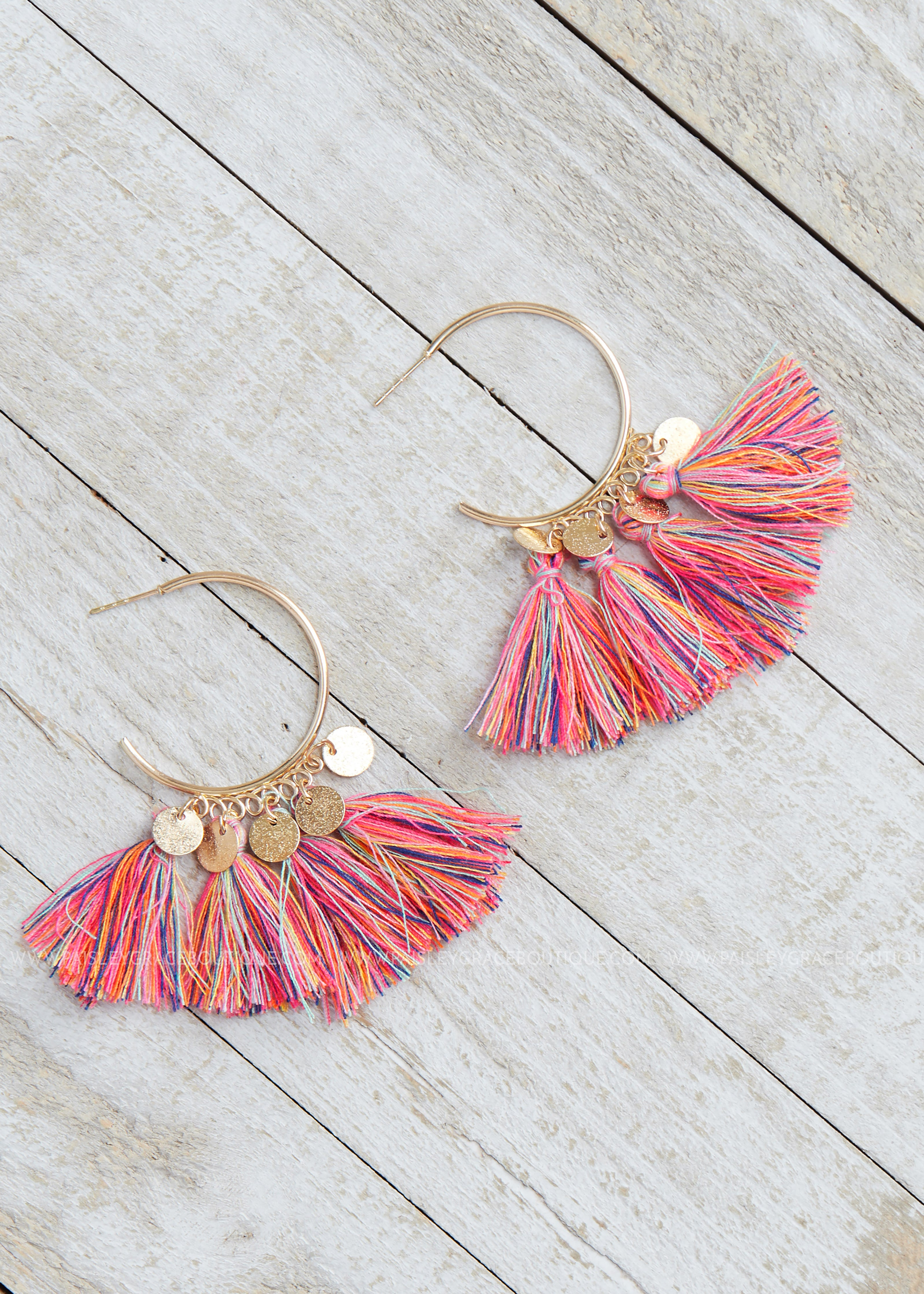 Multi Color Charmed Tassel Earrings