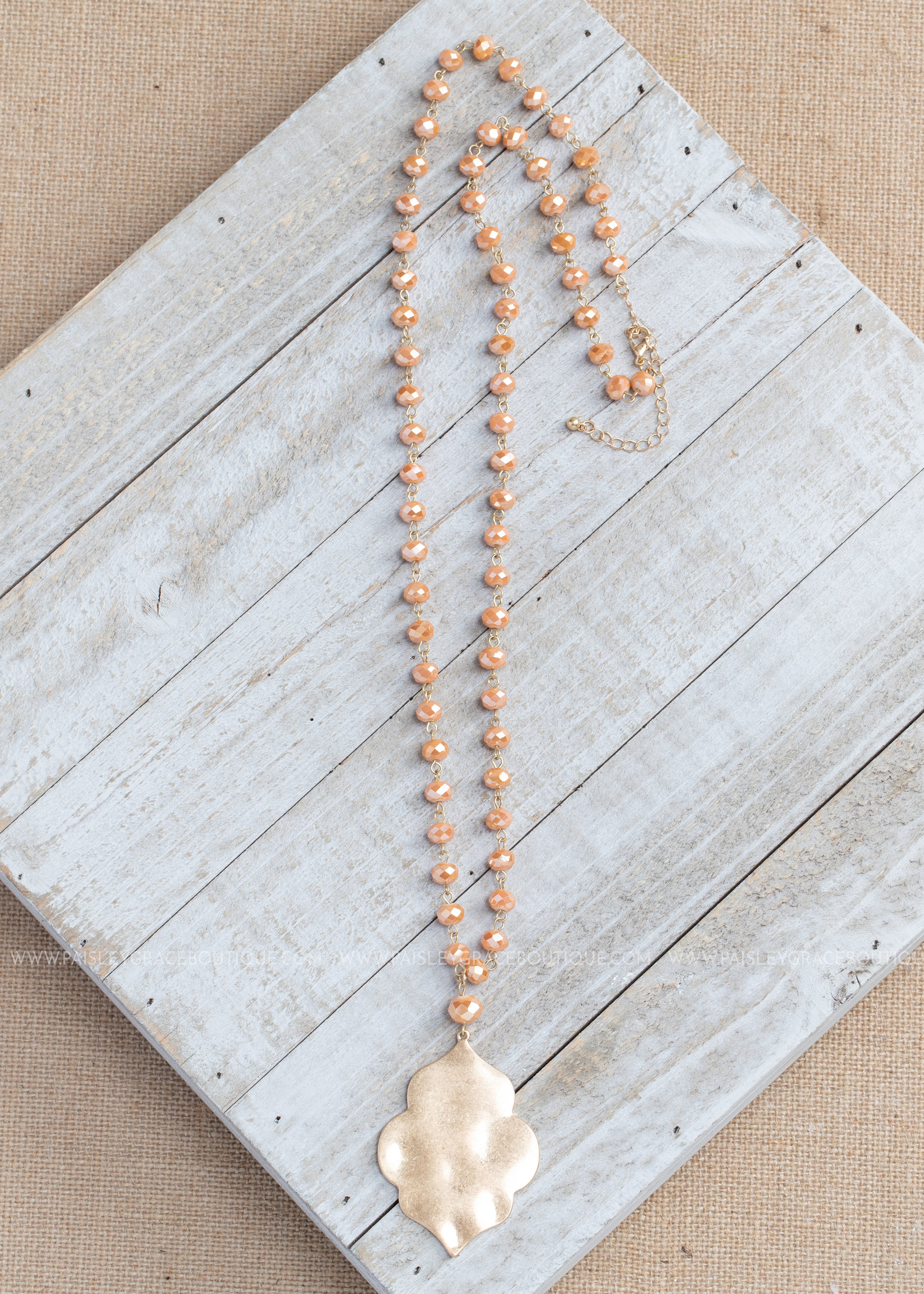 Apricot Shimmer Bead Necklace w/Hammered Quatrefoil