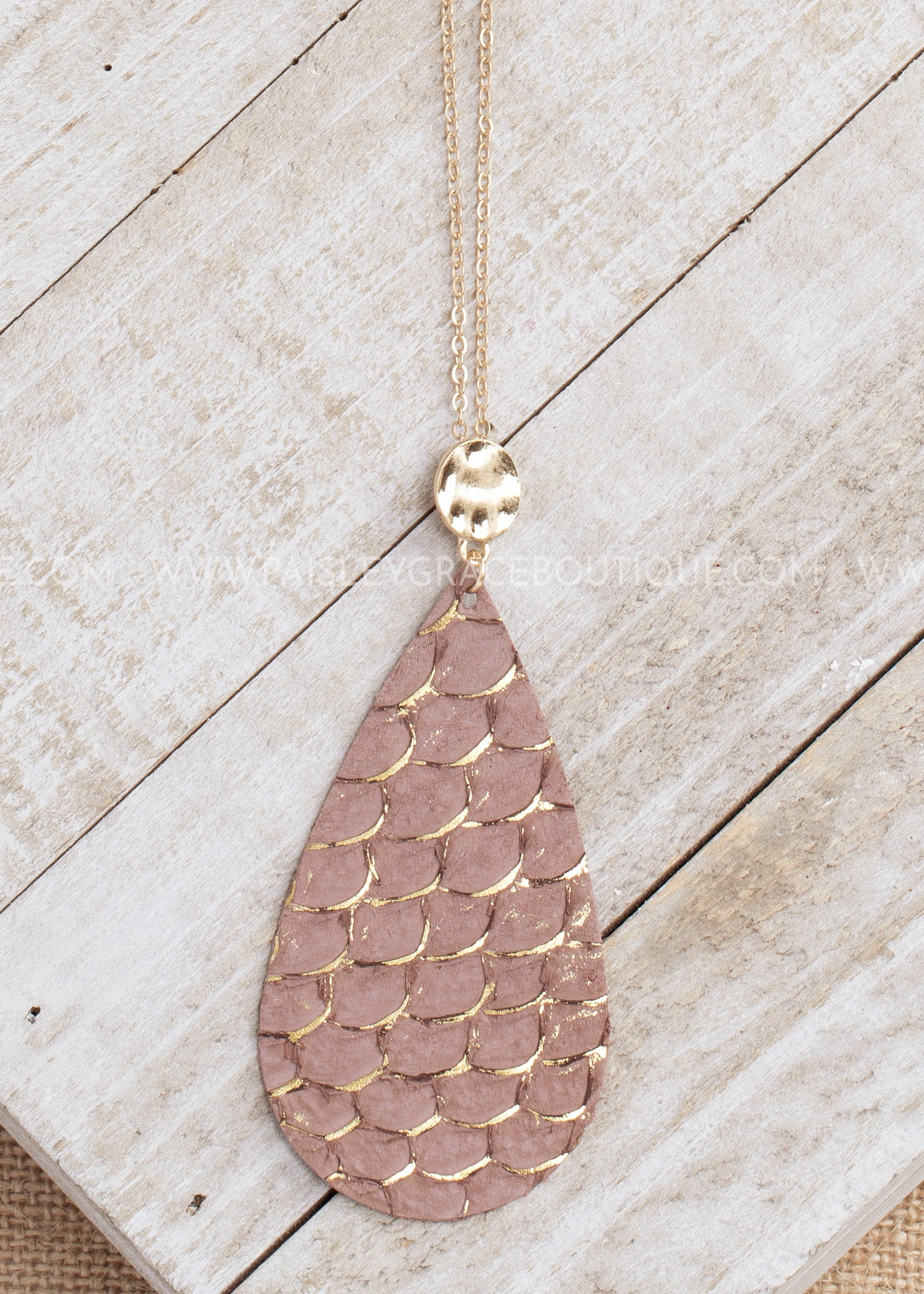 Leather Mauve Teardrop Necklace