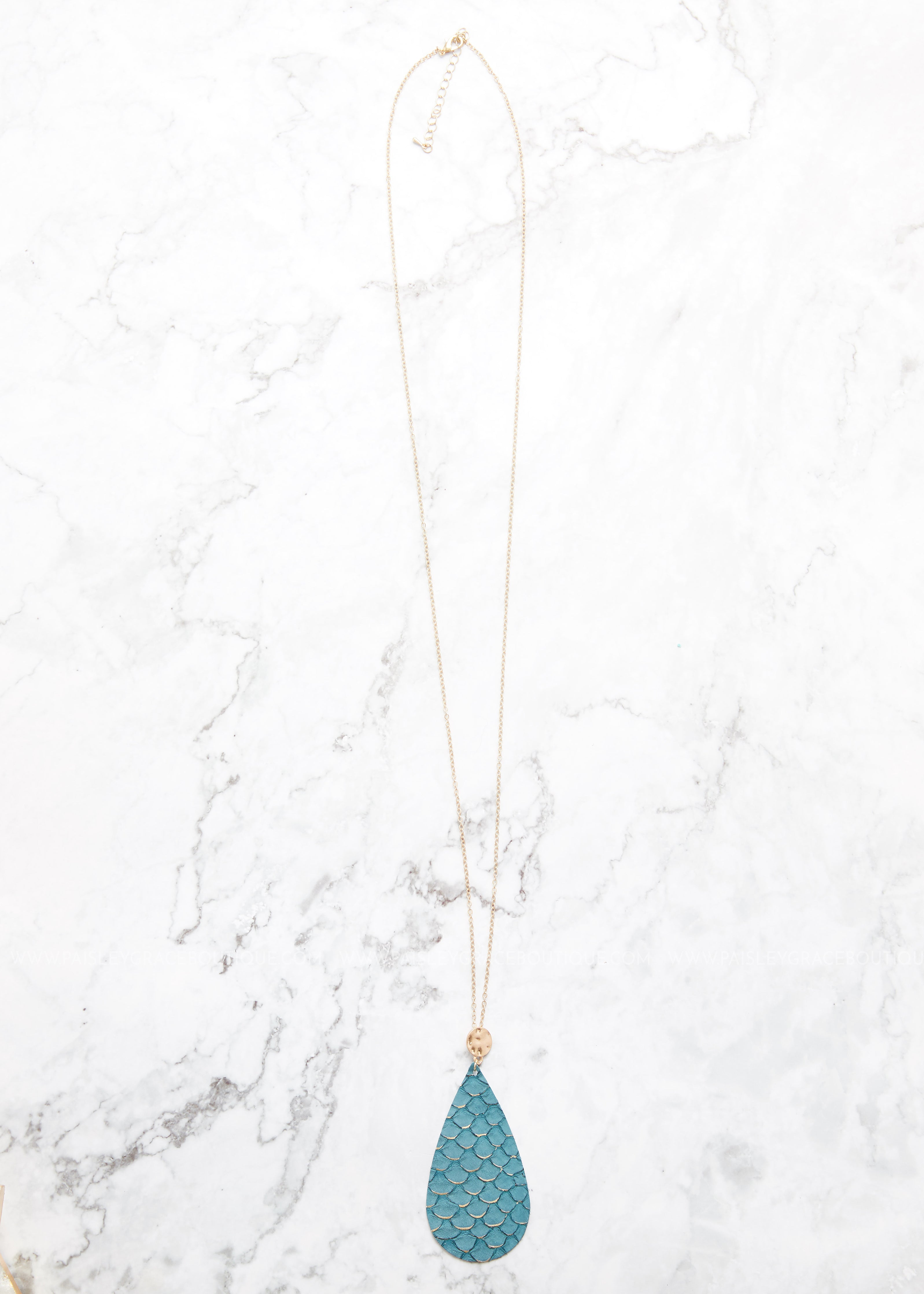 Leather Teardrop Necklace- Teal