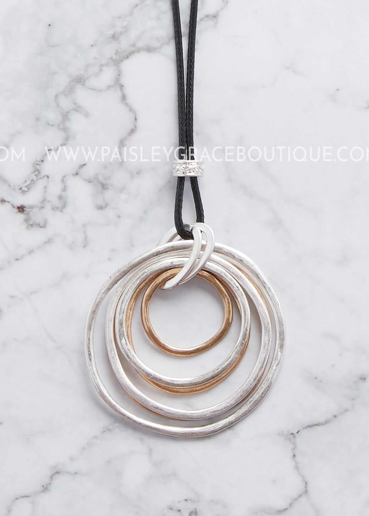 Silver/Gold Hammered Circle Necklace